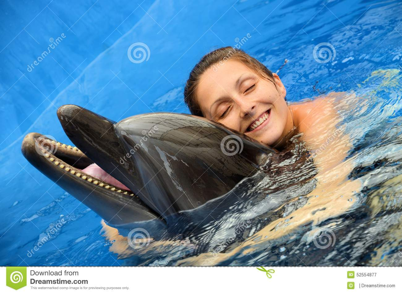 Dolphin love stock image. Image of girl, happiness