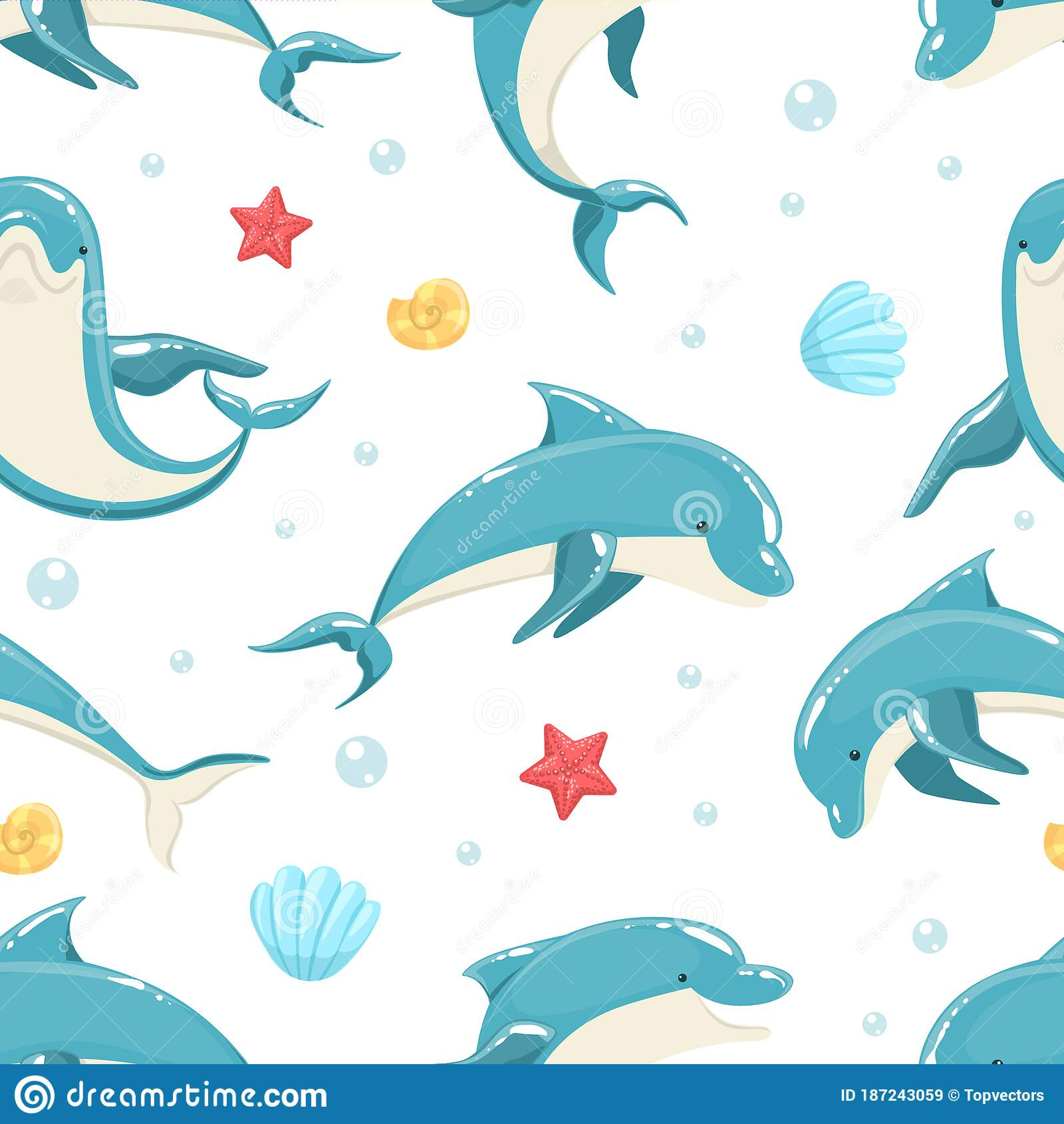 dolphin seamless pattern, marine sea creature textile, wallpaper,  packaging, background design vector illustration stock vector -  illustration of aquarium, life: 187243059  dreamstime.com