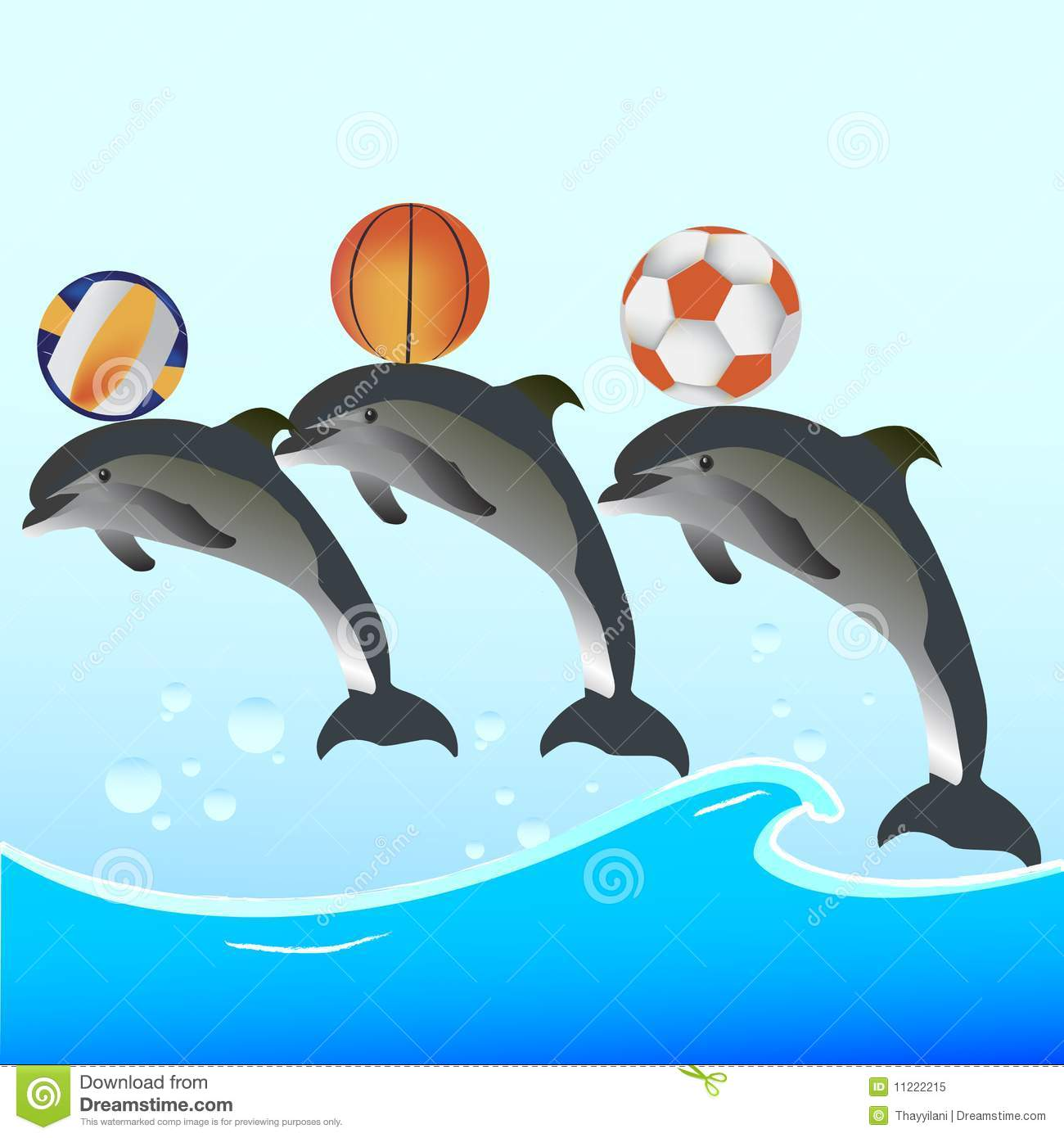 Dolphin Show With Balls Stock Vector Illustration Of
