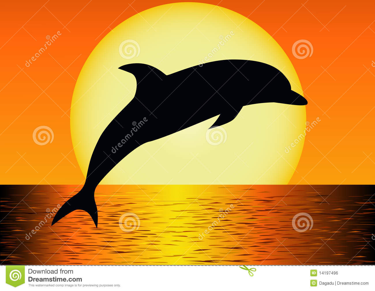 Royalty Free Stock Image Dolphin Silhouette 14197496