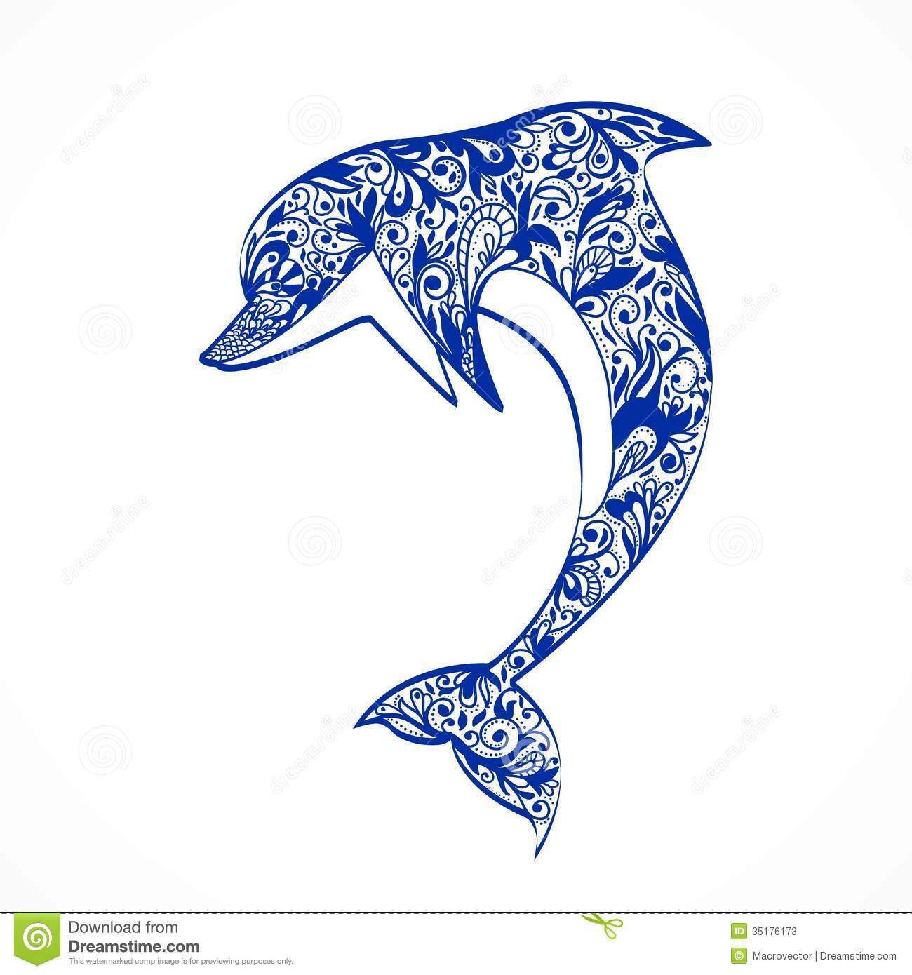 Dolphin symbol isolated vector illustration.