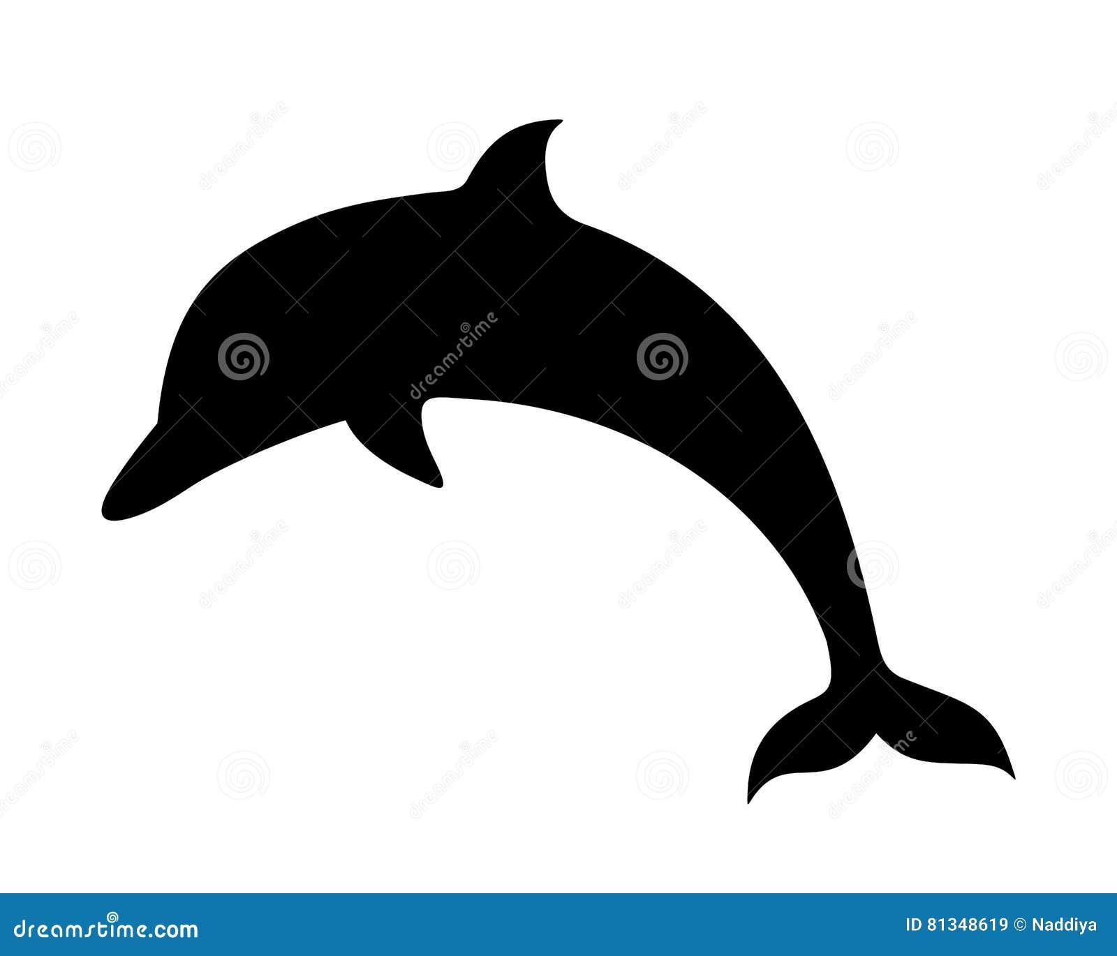 dolphin vector black silhouette stock vector illustration of