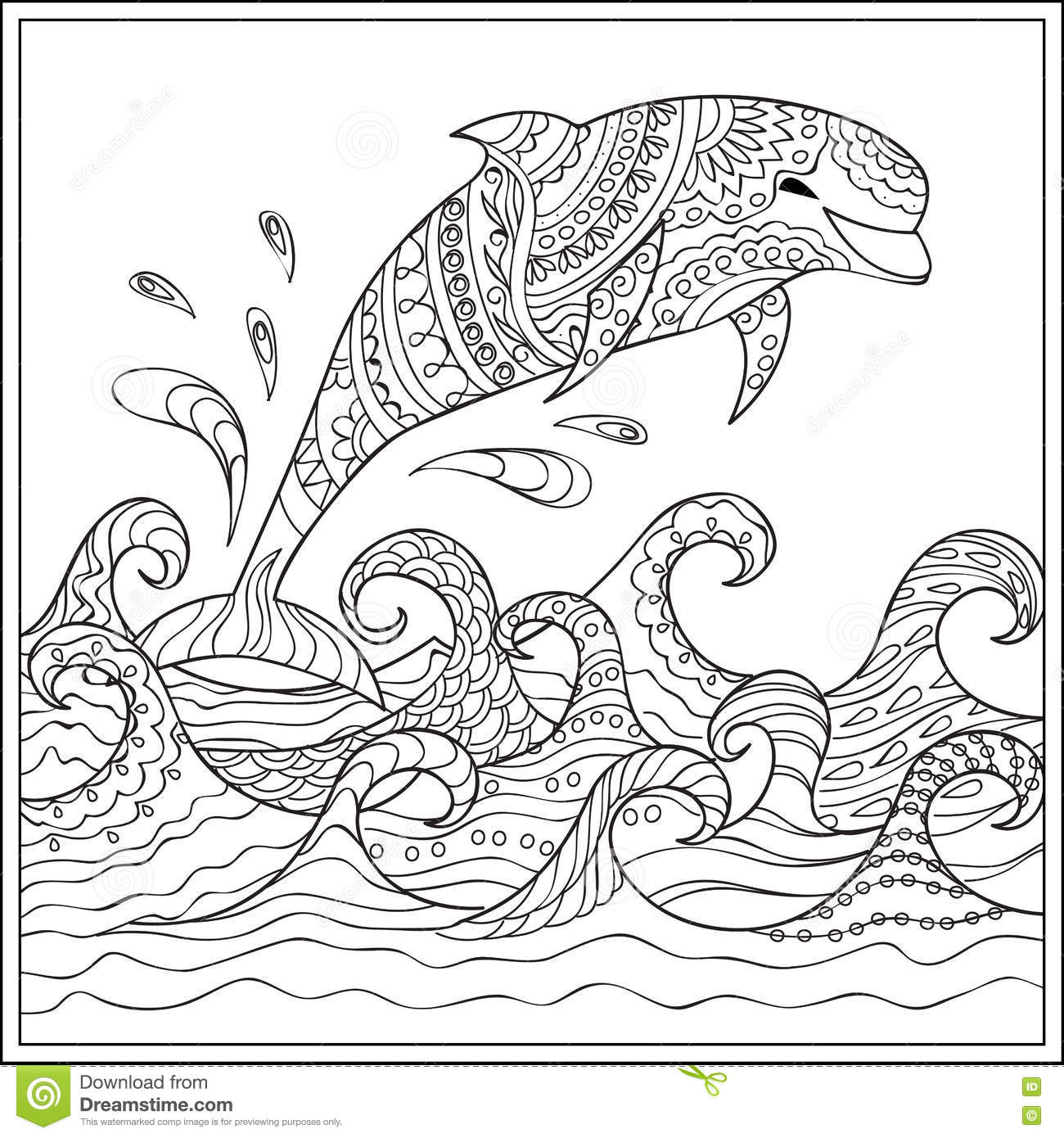 Abstract Dolphin Coloring Pages : Dolphin in the waves stock vector image of illustration