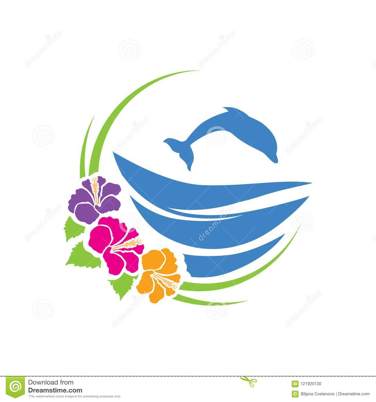 Dolphin Waves And Hibiscus Flower Stock Illustration Illustration