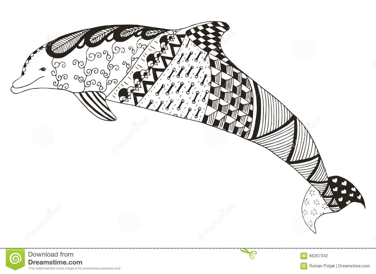Dolphin Zentangle Stylized Vector Illustration Pattern