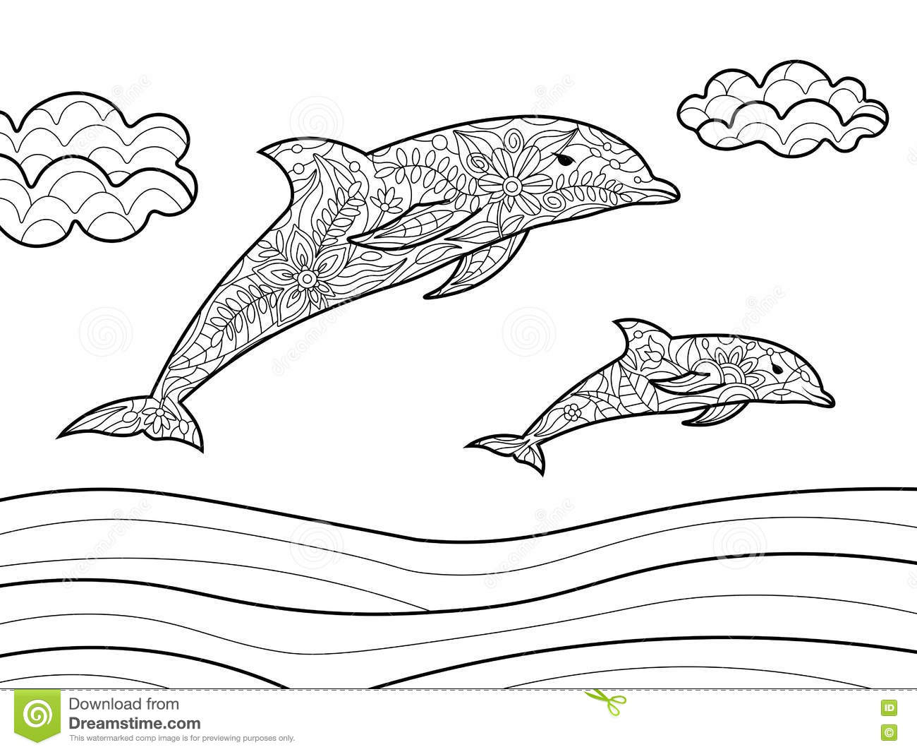 royalty free vector download dolphins coloring book - Dolphin Coloring Book
