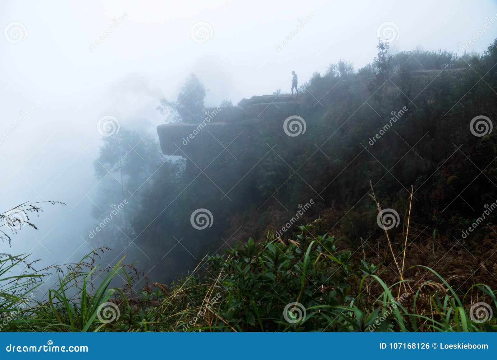 Dolphins nose rock in fog in Kodaikanal, India