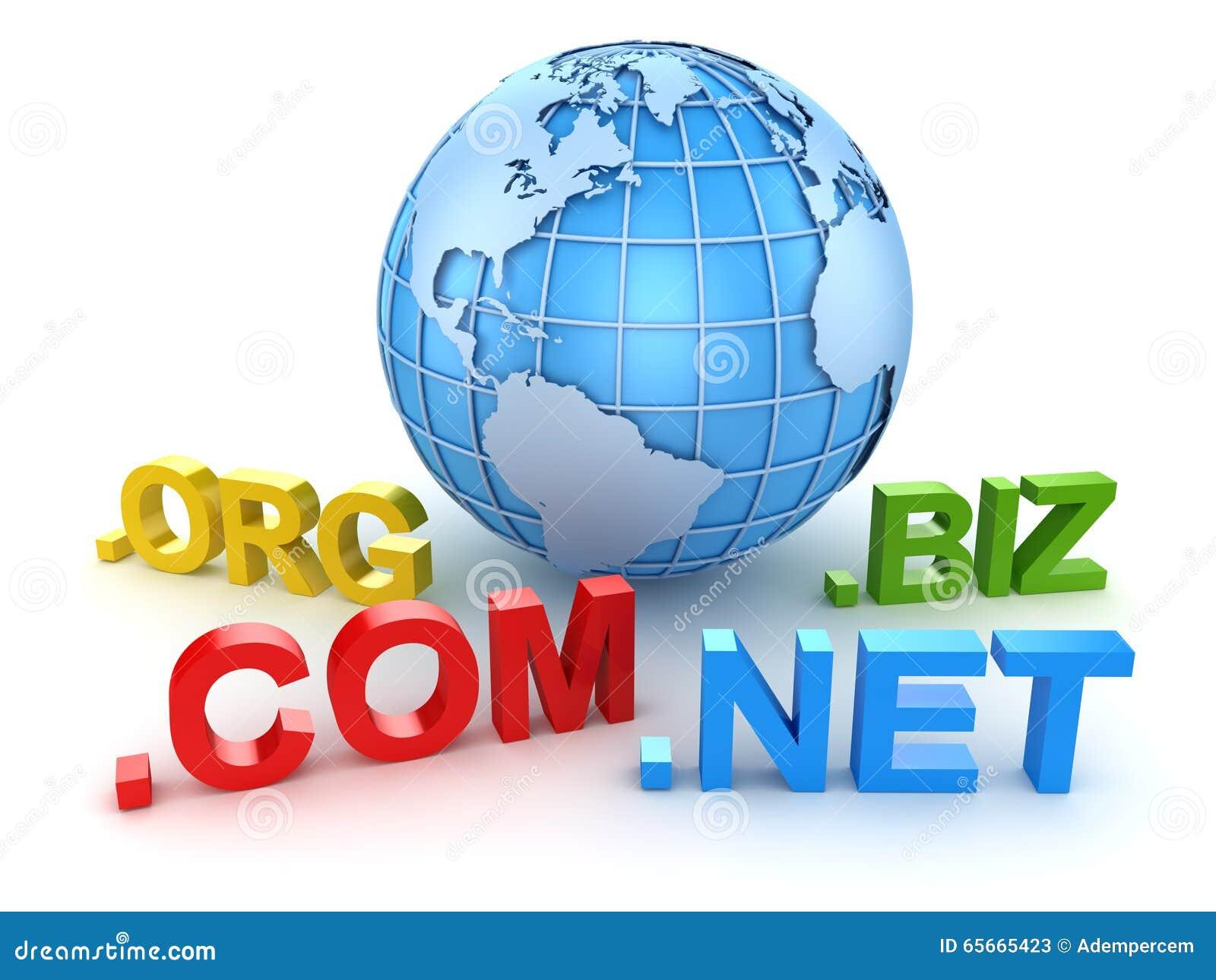 Dominio Do Internet E Mapa Do Mundo Azul Ilustracao Stock