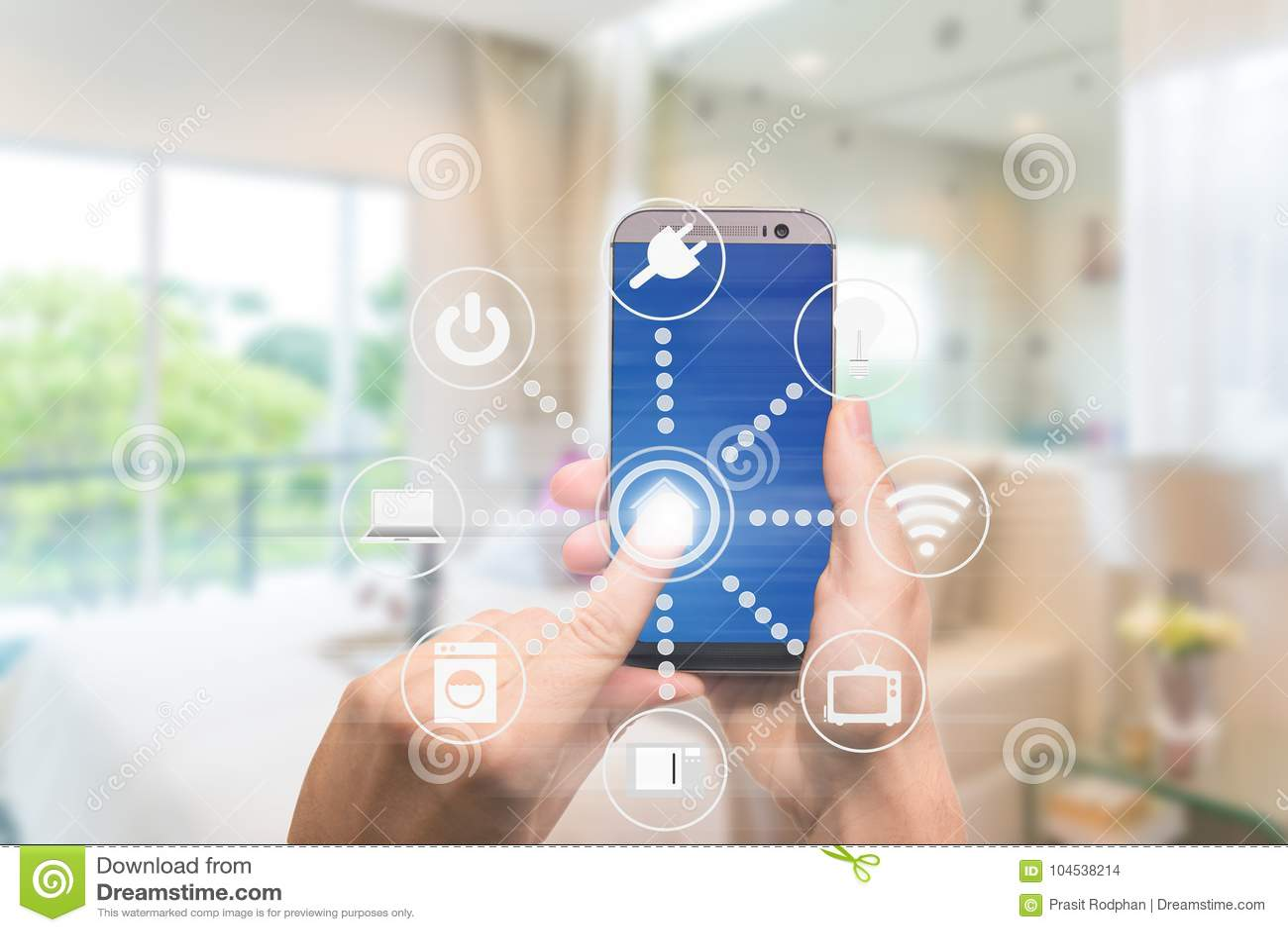 Domótica esperta app no móbil com interior home no backgr