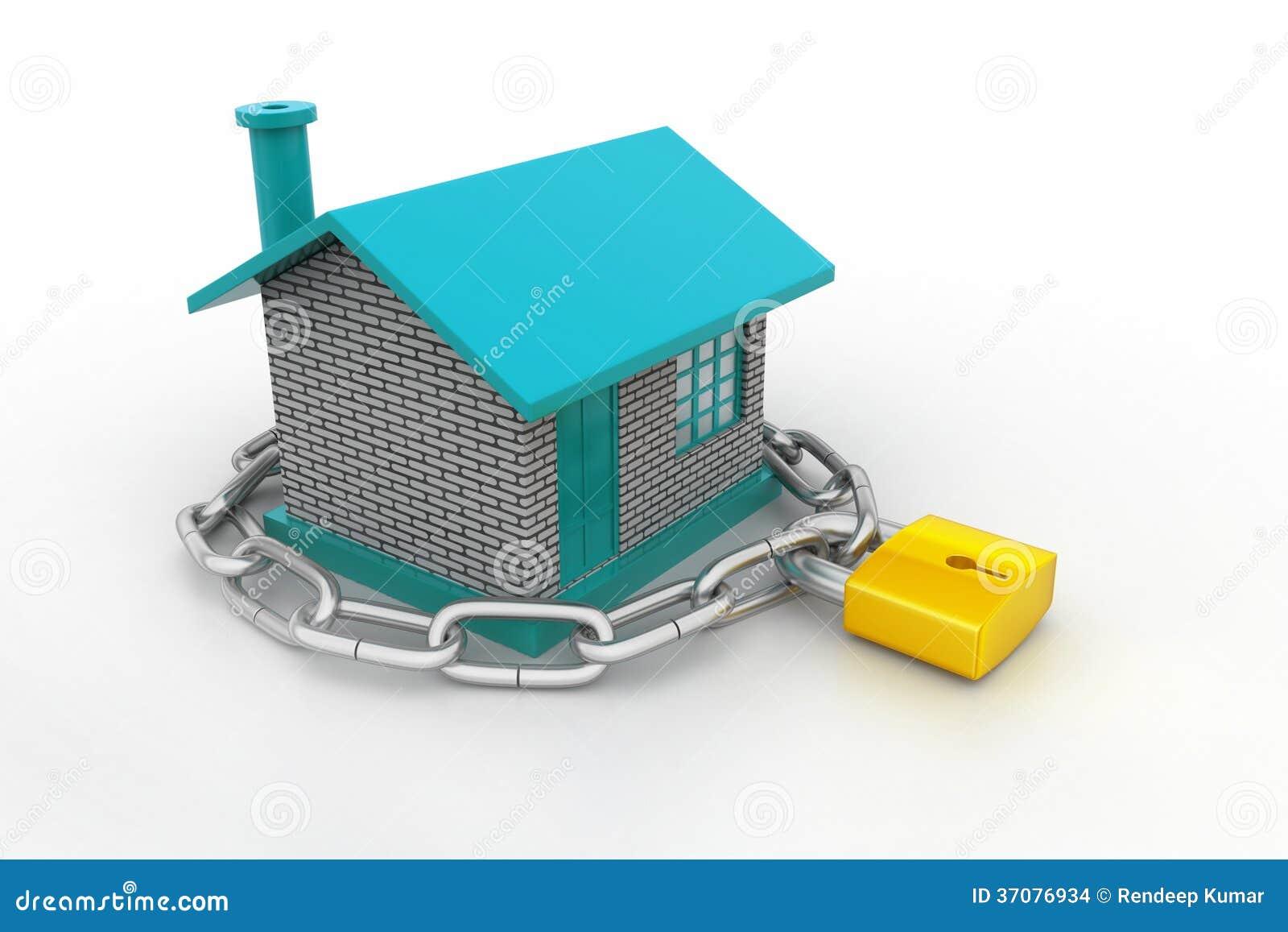 Download Dom Blokujący W łańcuchu I Kłódce Ilustracji - Ilustracja złożonej z nieruchomości, pojęcie: 37076934