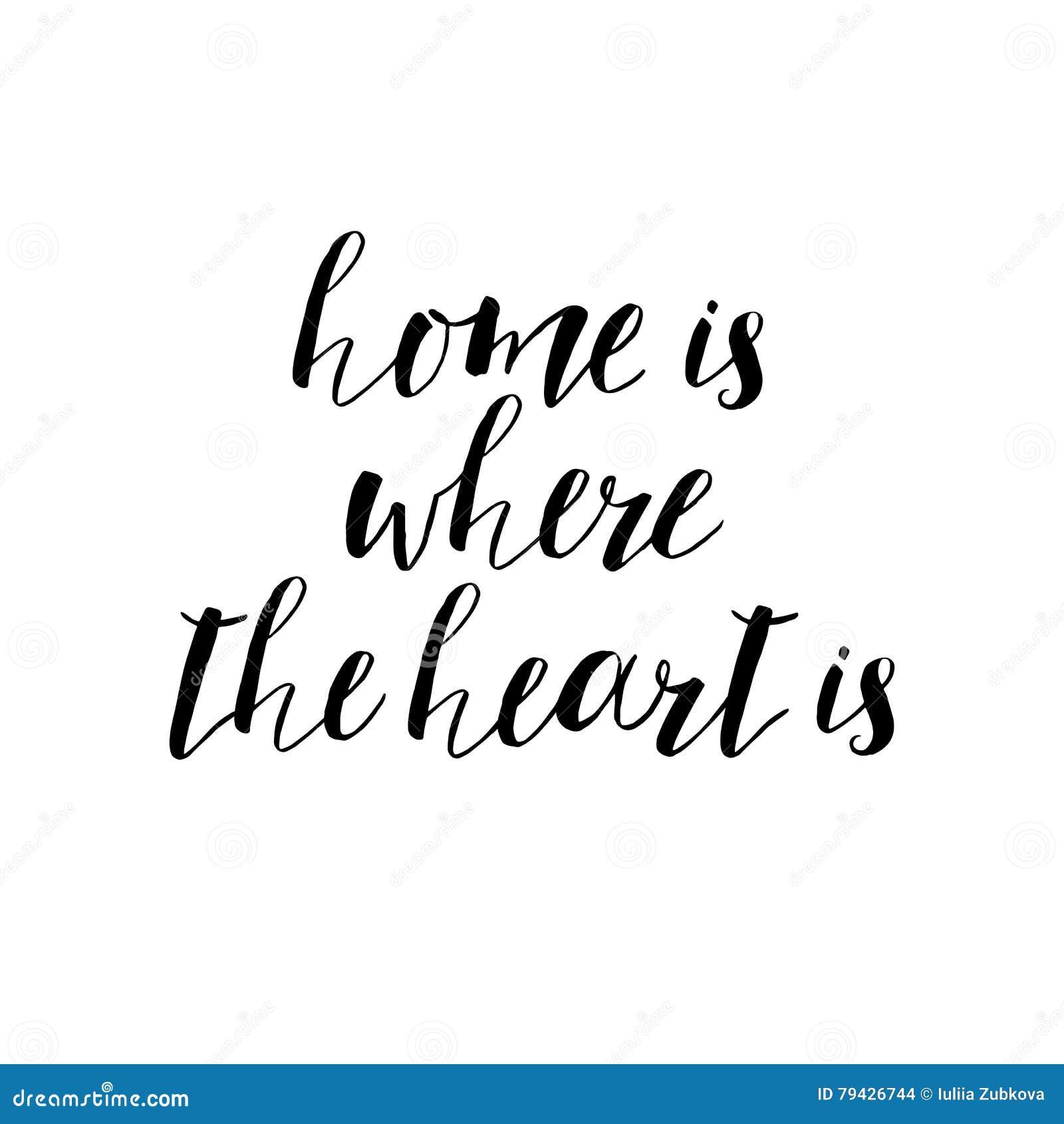 Dom jest dokąd serce motywacyjna wycena, typografii sztuka Vec