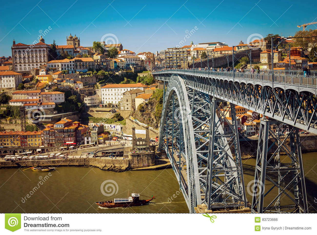 Dom Luis I Bridge And View Of Porto Old Town Stock Photo