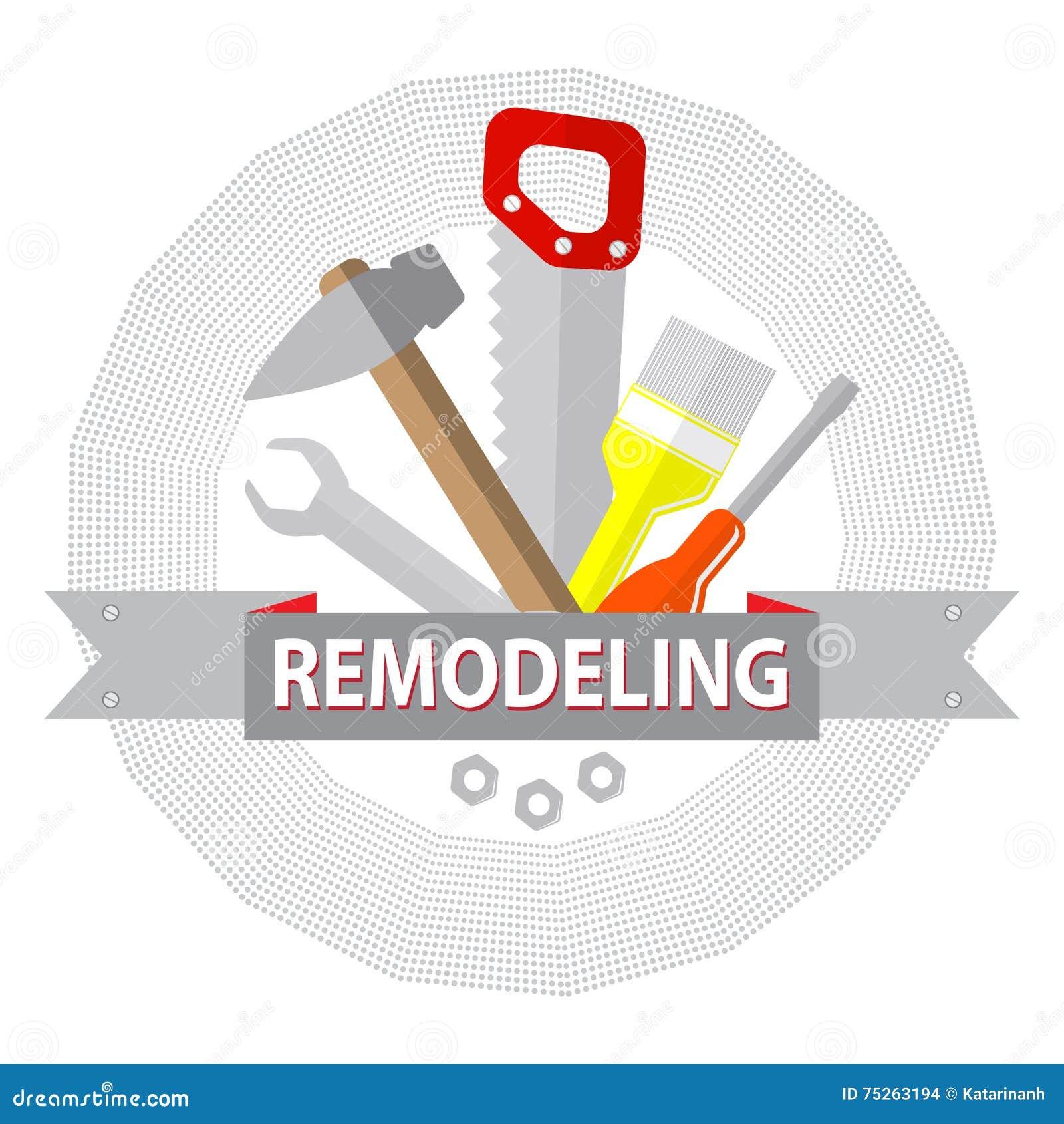 Dom przemodelowywa narzędzia Logo domowa remontowa usługa