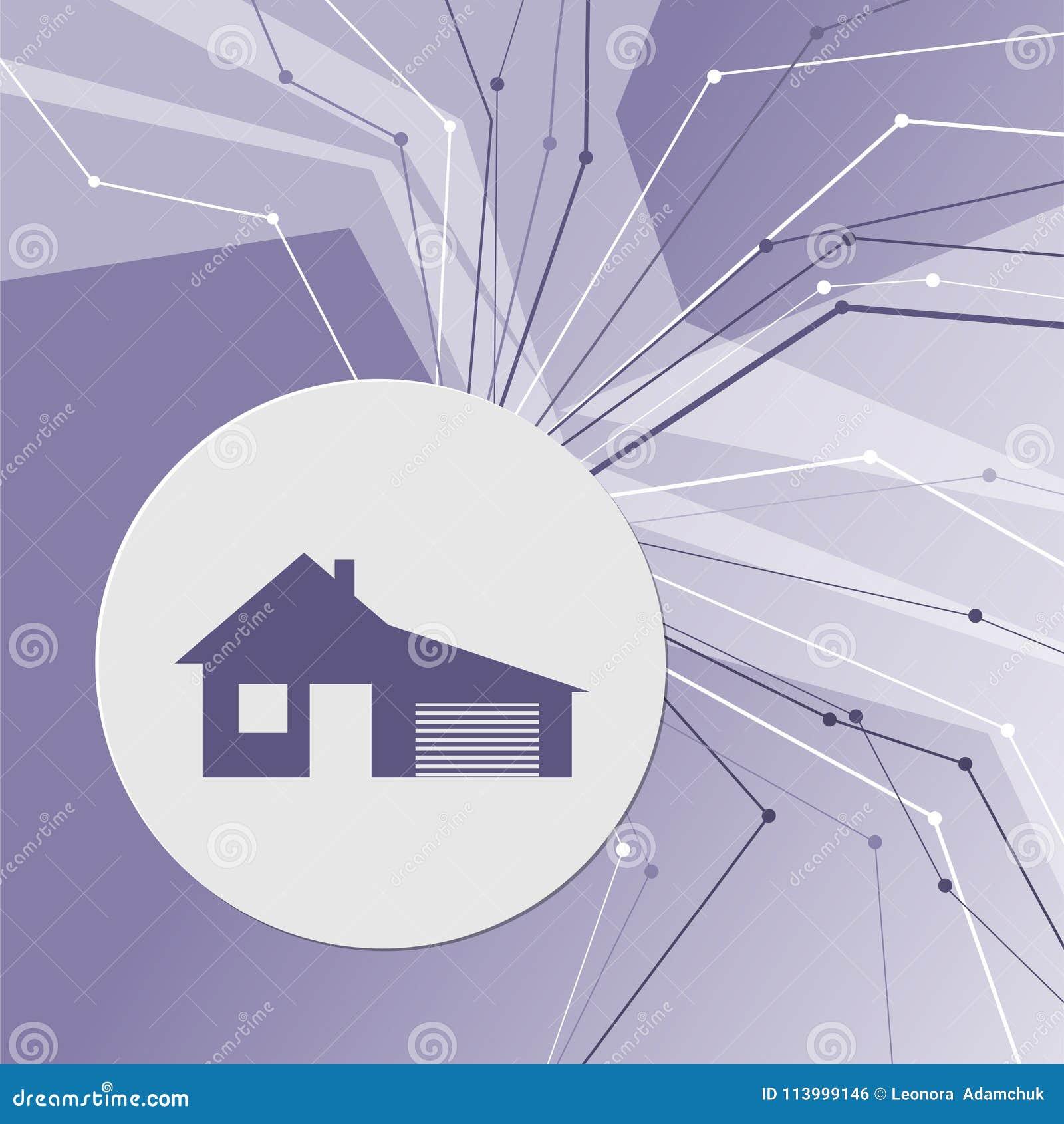 Dom z garaż ikoną na purpurowym abstrakcjonistycznym nowożytnym tle Linie w wszystkie kierunkach pokój dla twój reklamy