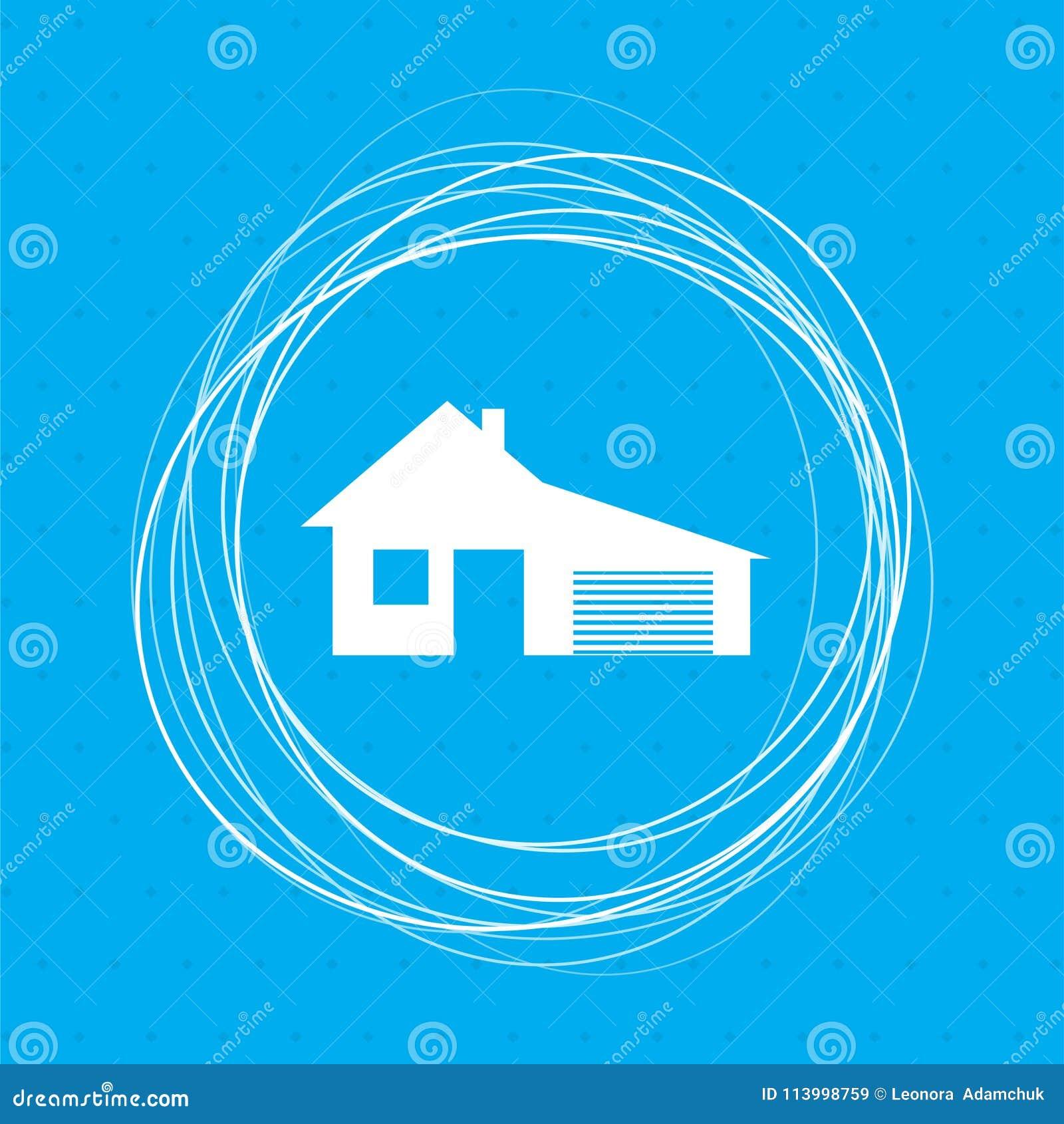 Dom z garaż ikoną na tło abstrakta błękitnych okręgach wokoło i miejsce dla twój teksta