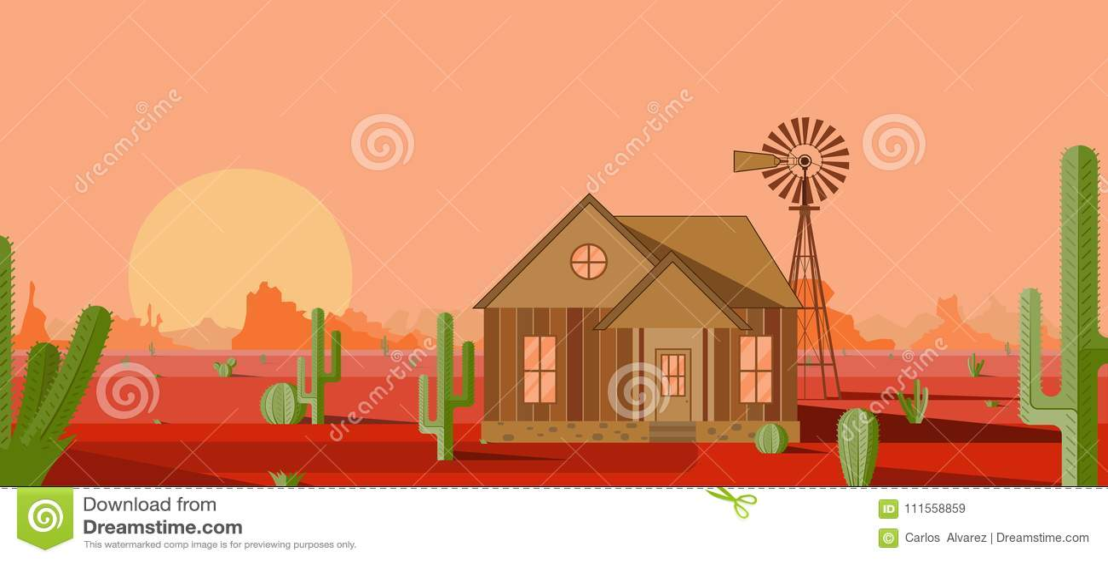 Dom z młynem w czerwonej pustyni