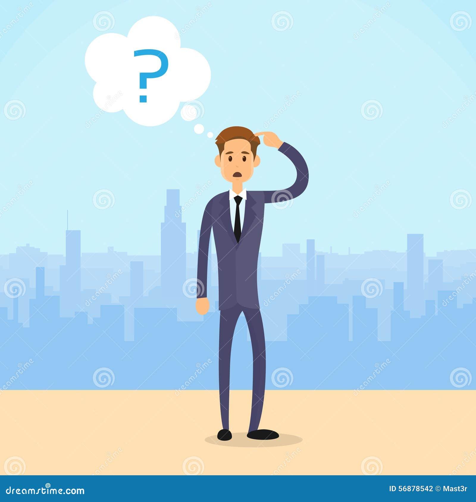 Domanda Mark Concept City Skyscraper dell uomo di affari