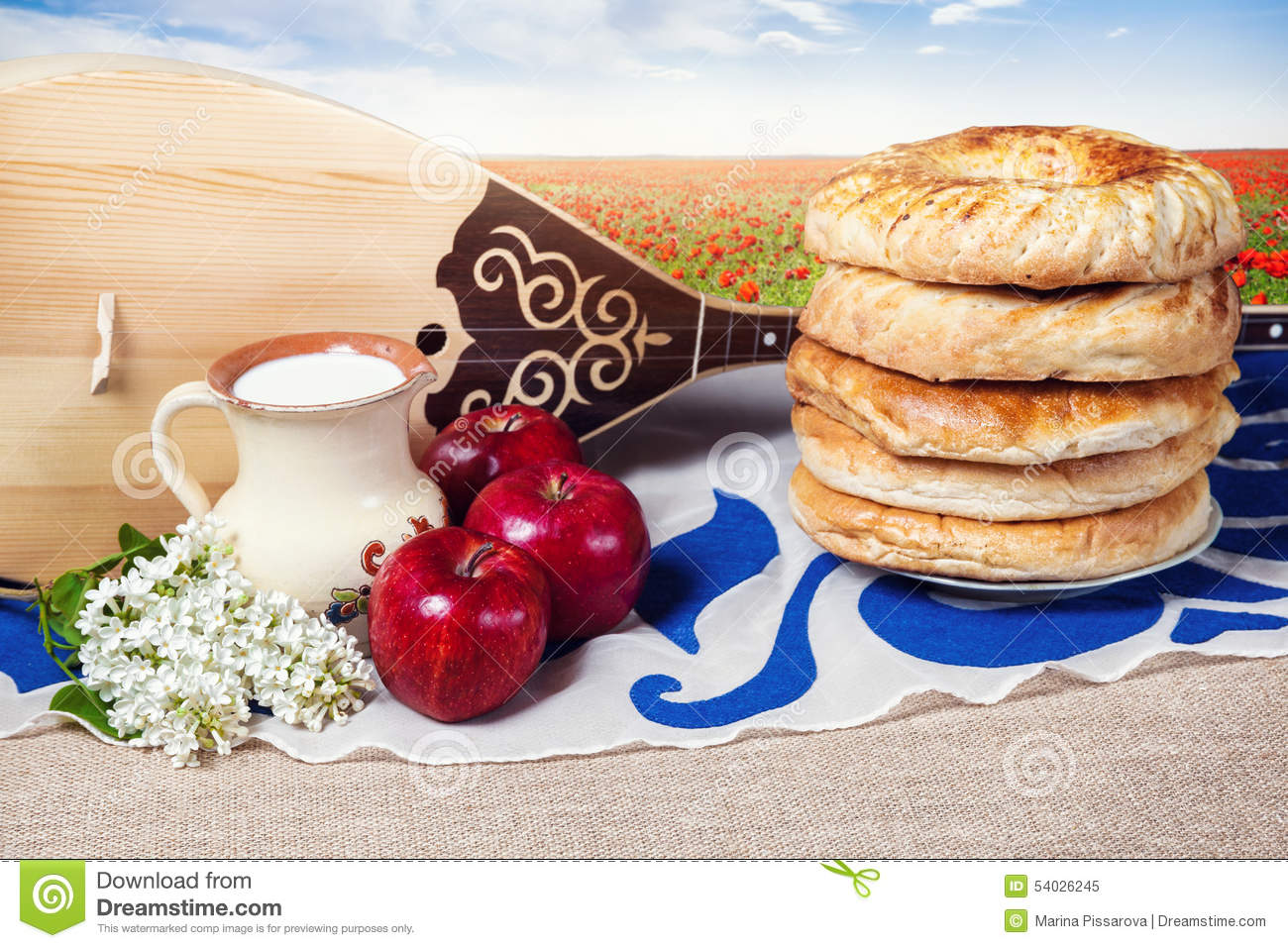 Dombra and kazakh food stock photo image 54026245 for Cuisine instrument