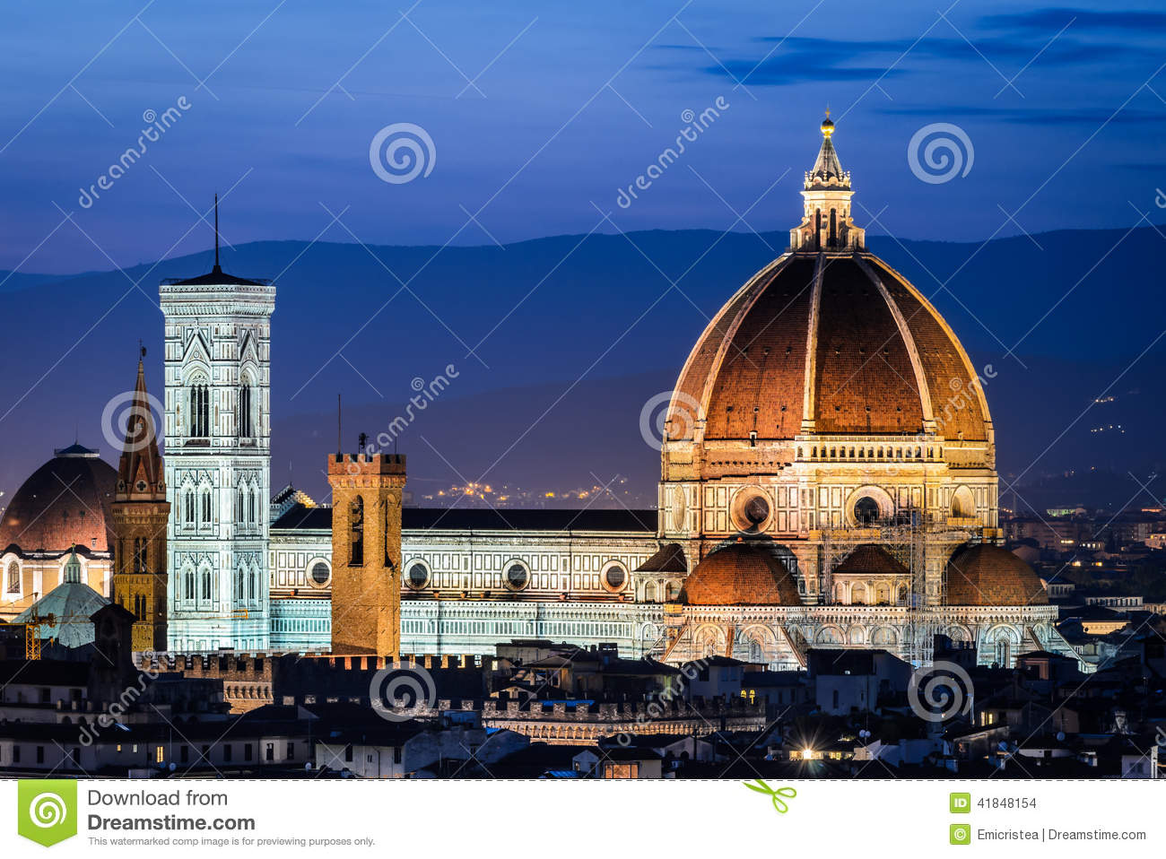 Florence Dome: Dome Of Florence Cathedral, Night In Tuscany Stock Photo