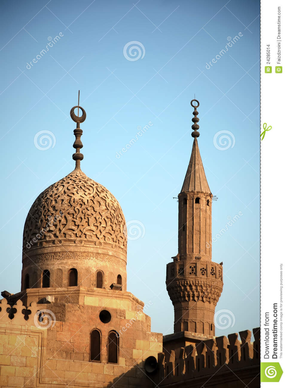Non Muslim Perspective On The Revolution Of Imam Hussain: The Dome And Minaret Of Al-Azhar Mosque In Cairo Stock
