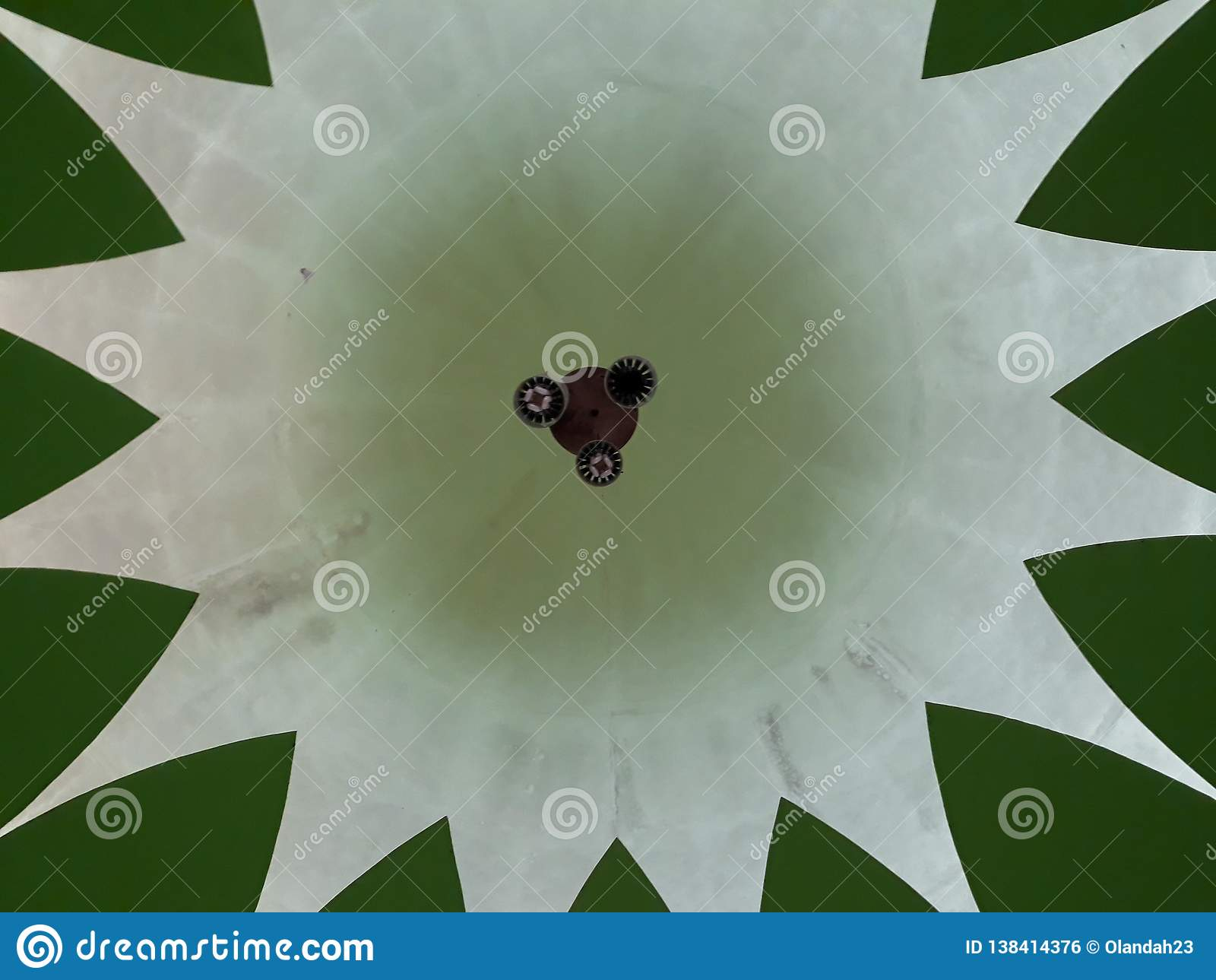 This is dome in the mosque is seen from above. A famous and beautiful traditional mosque in Bekasi. Indonesia