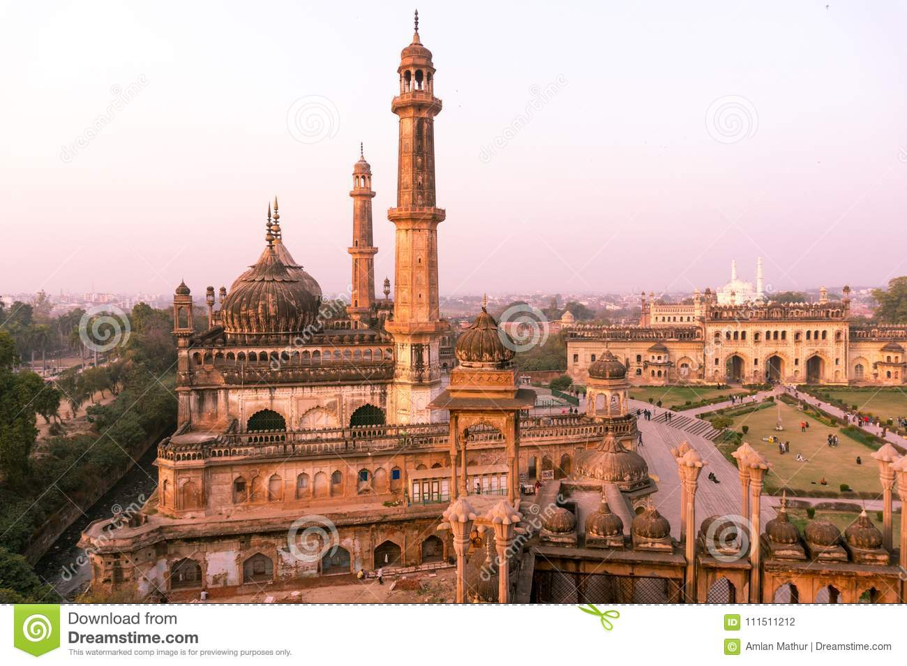 Domed roof and towers of Asfi mosque shot at sunset