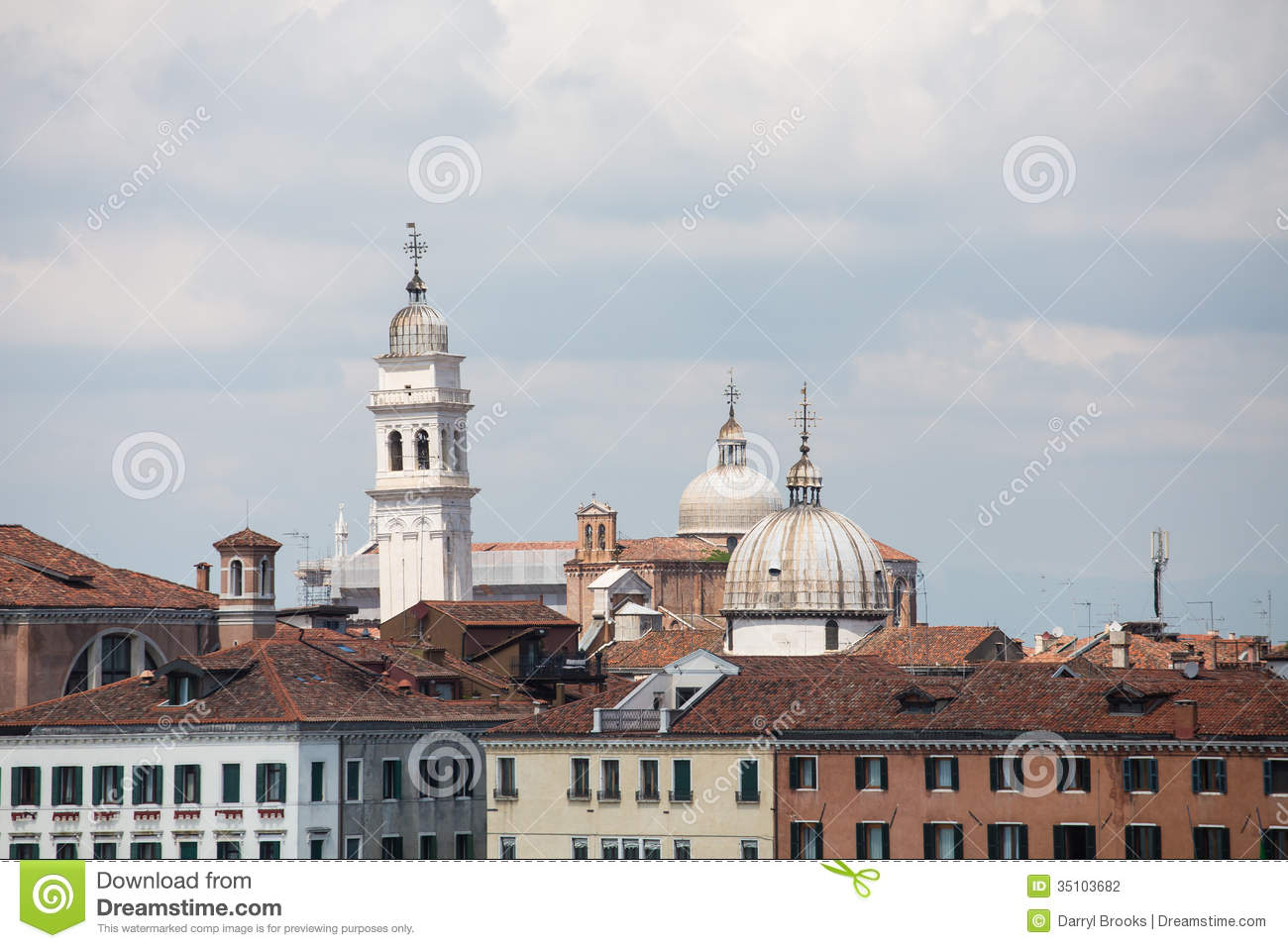 Domes on venice towers stock photo image of architecture for Architecture venise