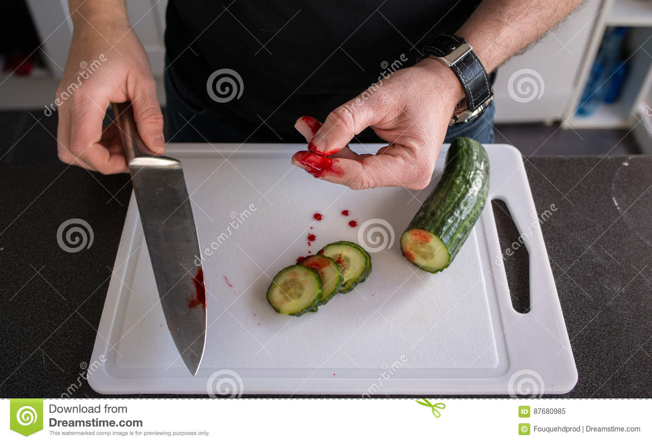 Domestic Accident With A Knife Stock Image - Image of ...