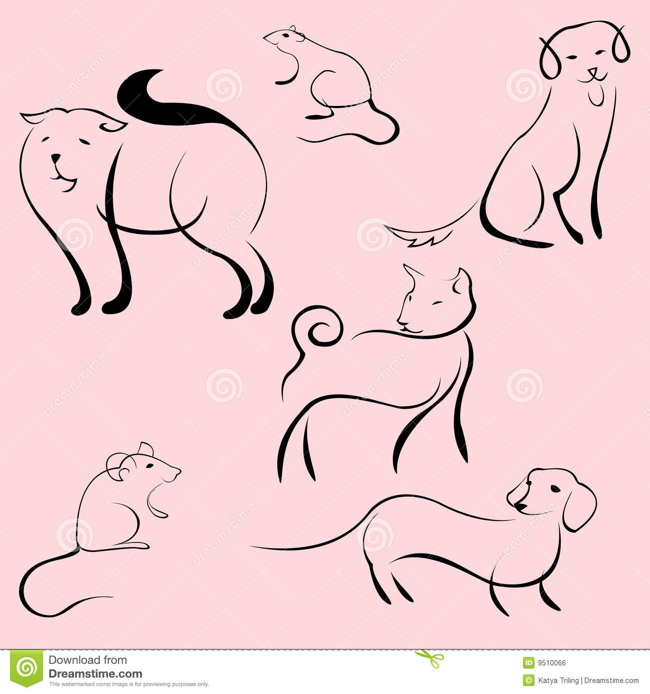 Simple Line Art Animals : Domestic animals design set royalty free stock image