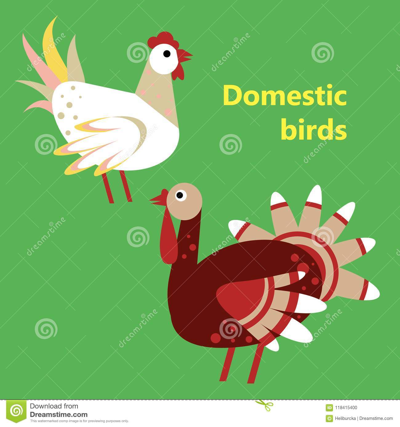 Domestic Birds Rooster And Turkey Stock Vector - Illustration of ...
