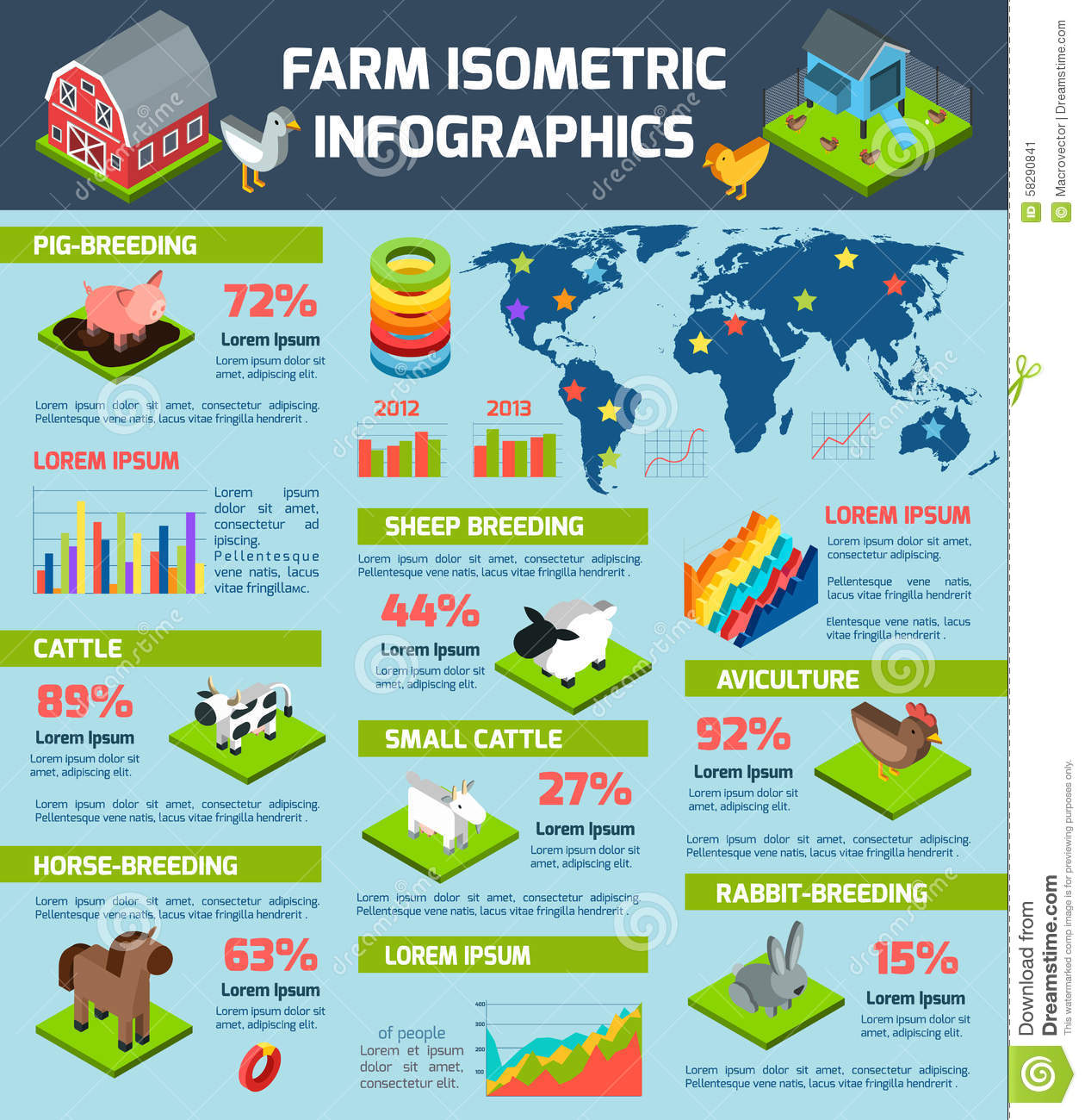 Domestic Cattle Breeding Farm Infographic Poster Stock ...