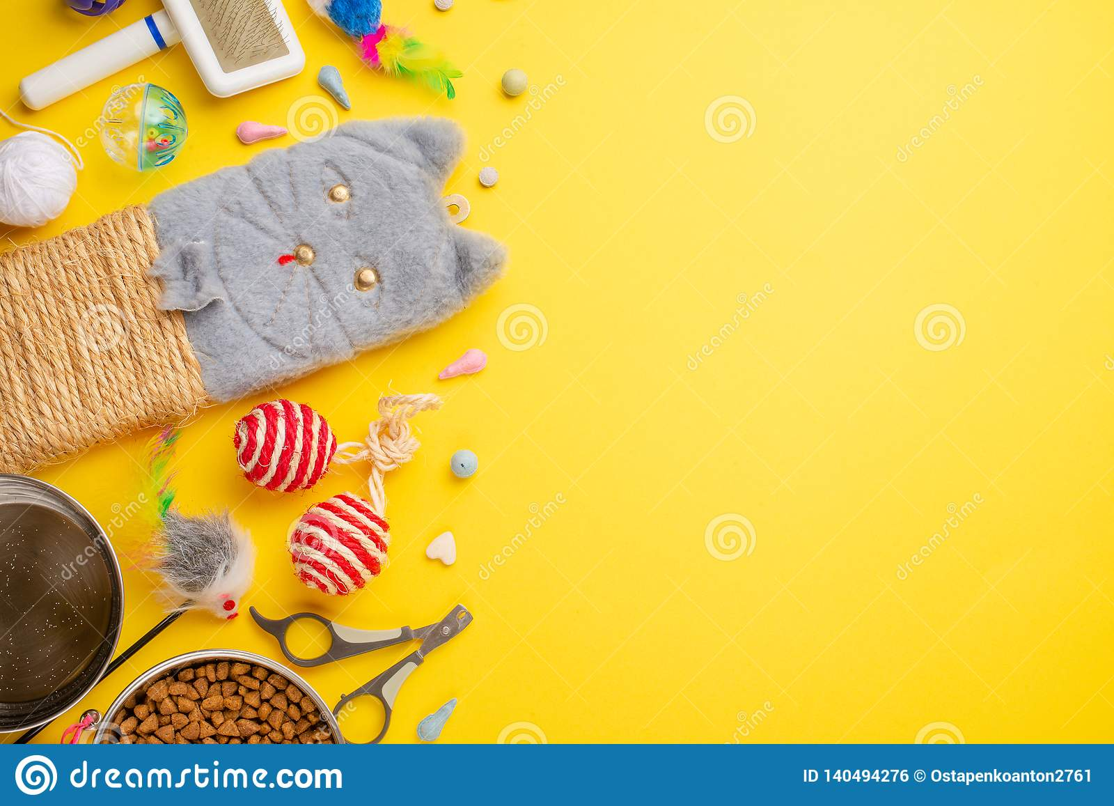 Domestic and cute animals, pets, cute cats, food and accessories for cat`s life, Flat lay, space for a dresser, on a yellow