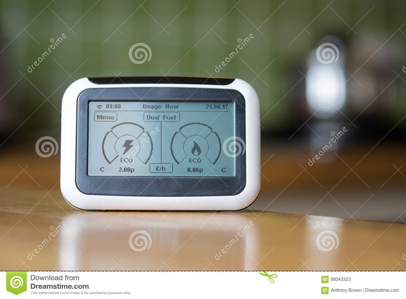 Smart Meter in Kitchen stock image. Image of number, fuel - 99343323