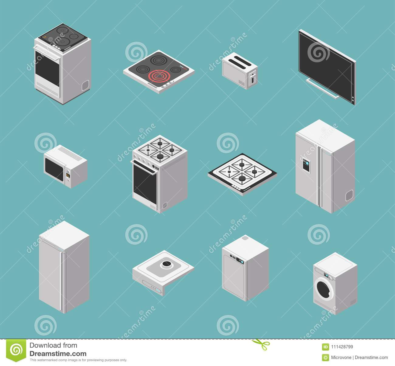 Domestic And Kitchen Appliances Isometric Vector Icons Set Stock ...