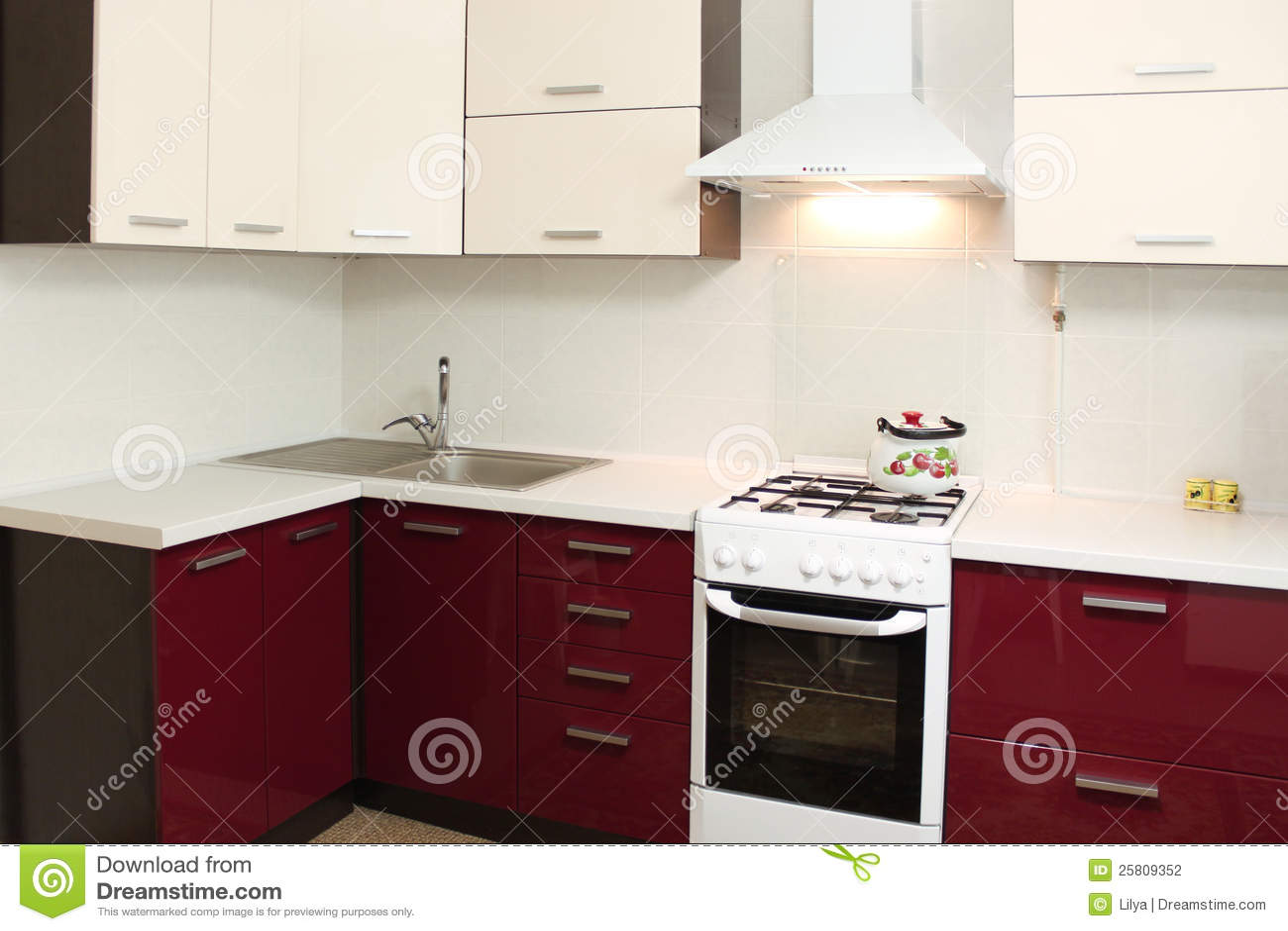 Domestica Interior Design.Domestic Kitchen Interior Design Stock Photo Image Of