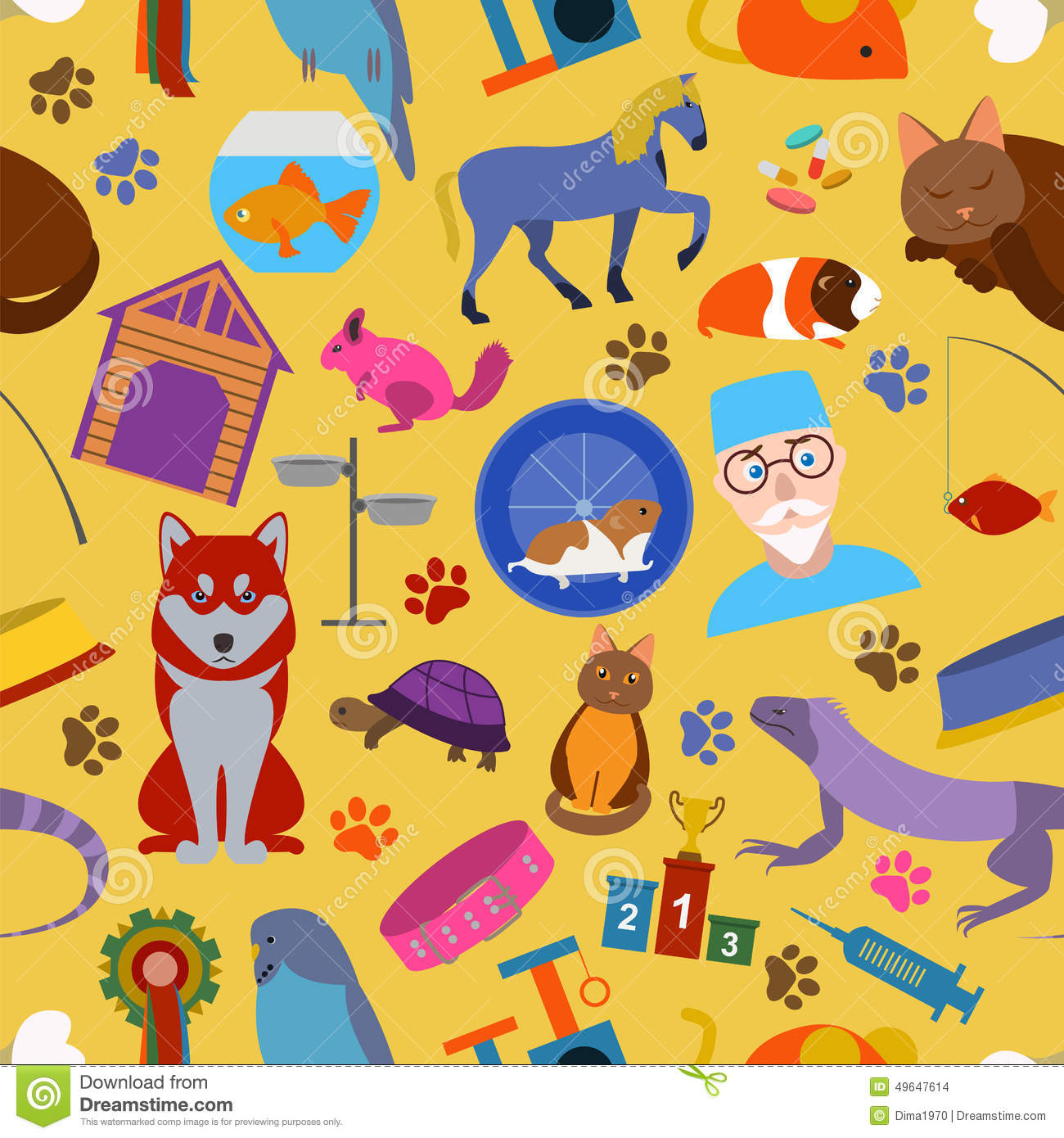Domestic Pets Background Pattern Seamless Stock Vector