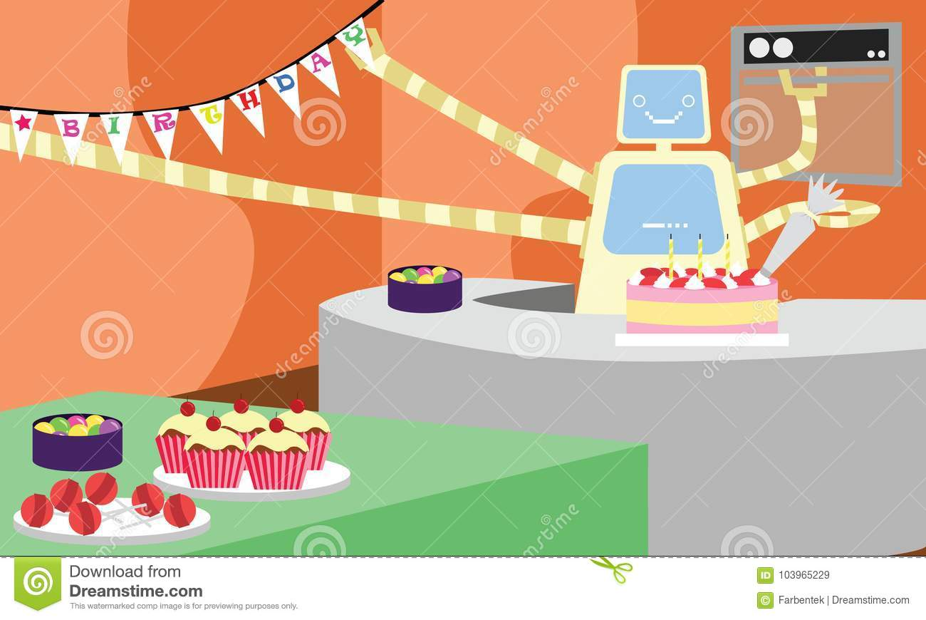 Domestic Robot Preparing Cake And Decorating House For