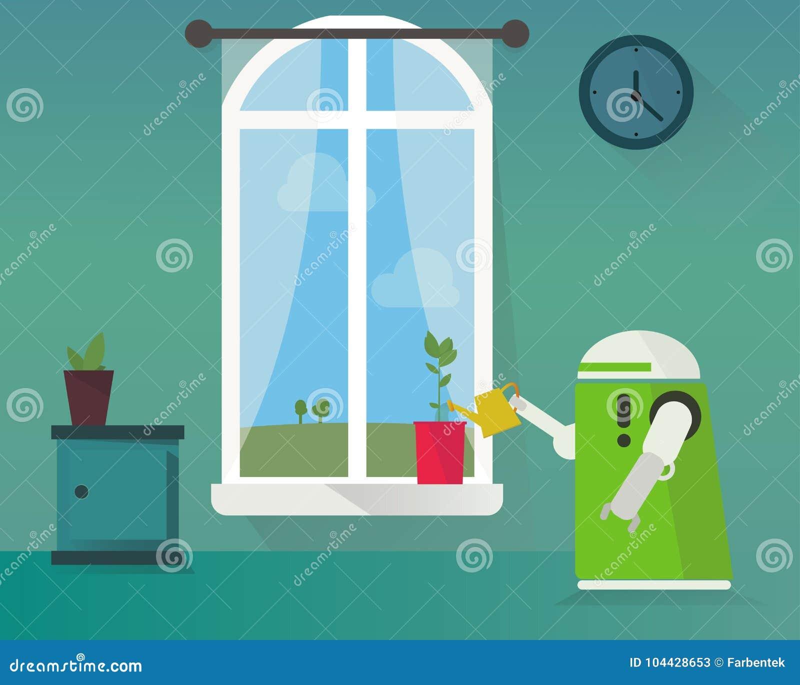 Domestic Robot Watering Plants At Window. Stock Vector ...