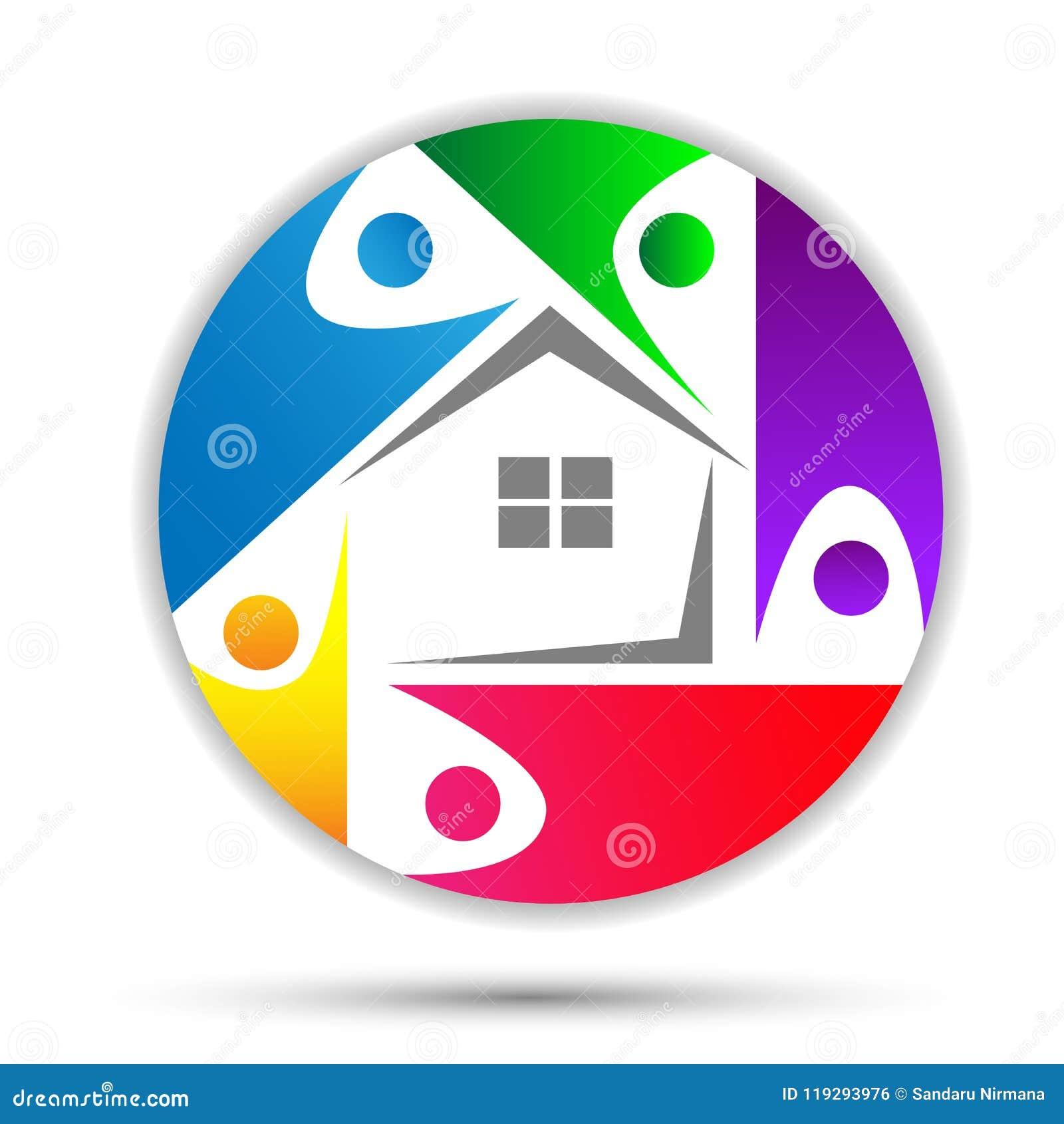 Domicilio familiar, logotipo feliz del cuidado de la casa, logotipo del concepto de la unión en círculo