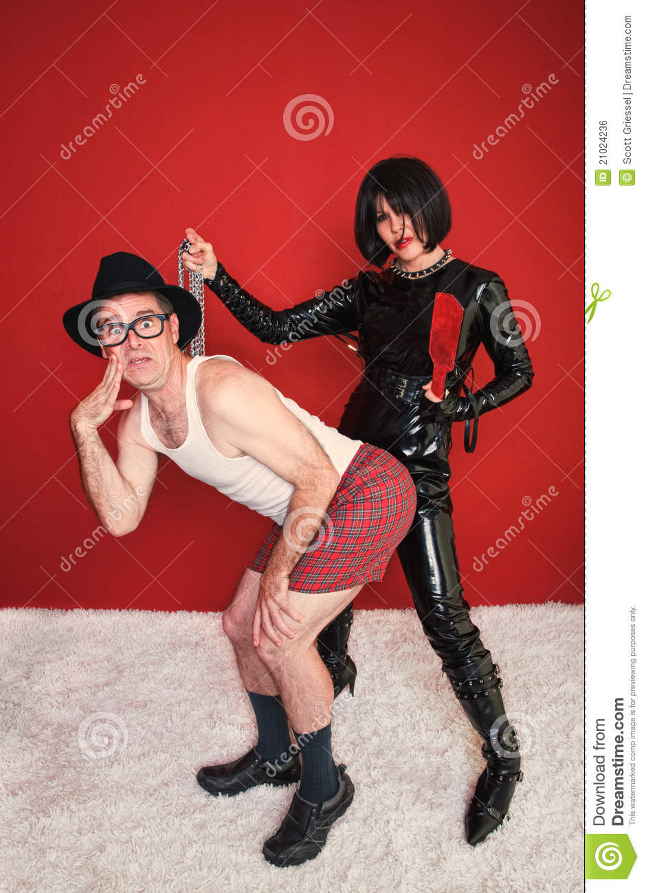 Dominatrix with Chains and Man