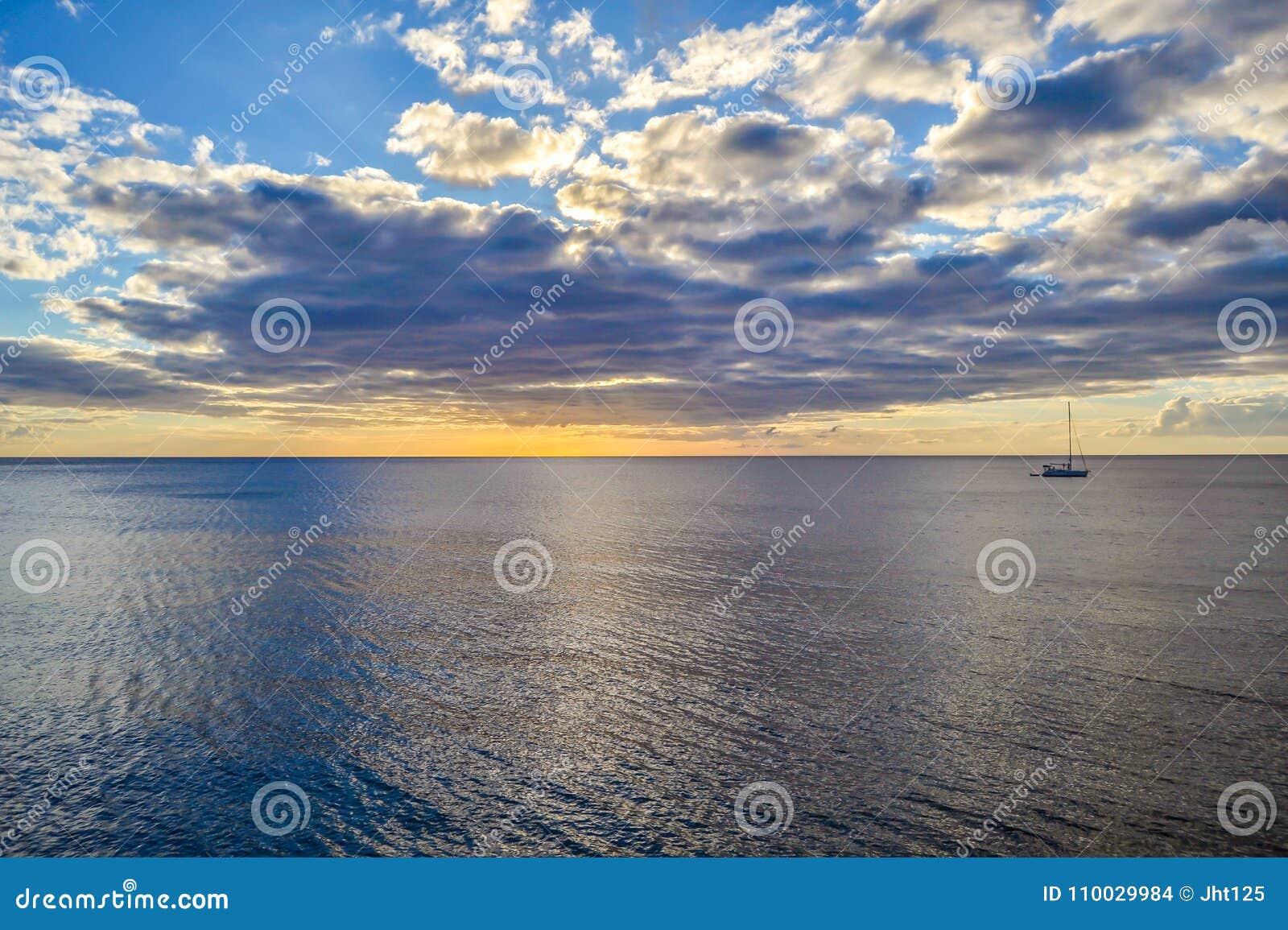Dominica Island Sunset in Silhouet