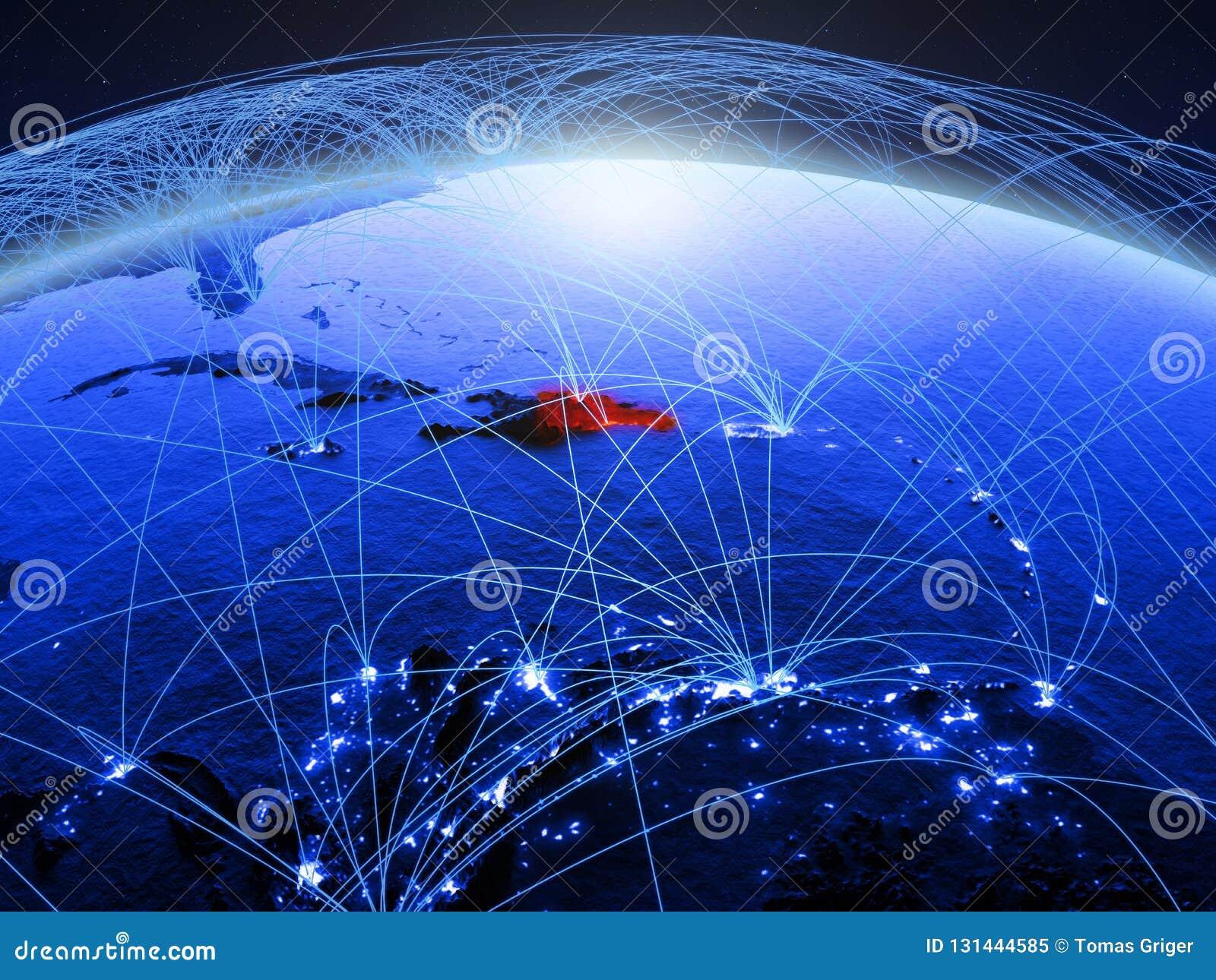 Dominicaanse Republiek op blauwe digitale aarde met internationaal netwerk die mededeling, reis en verbindingen vertegenwoordigen