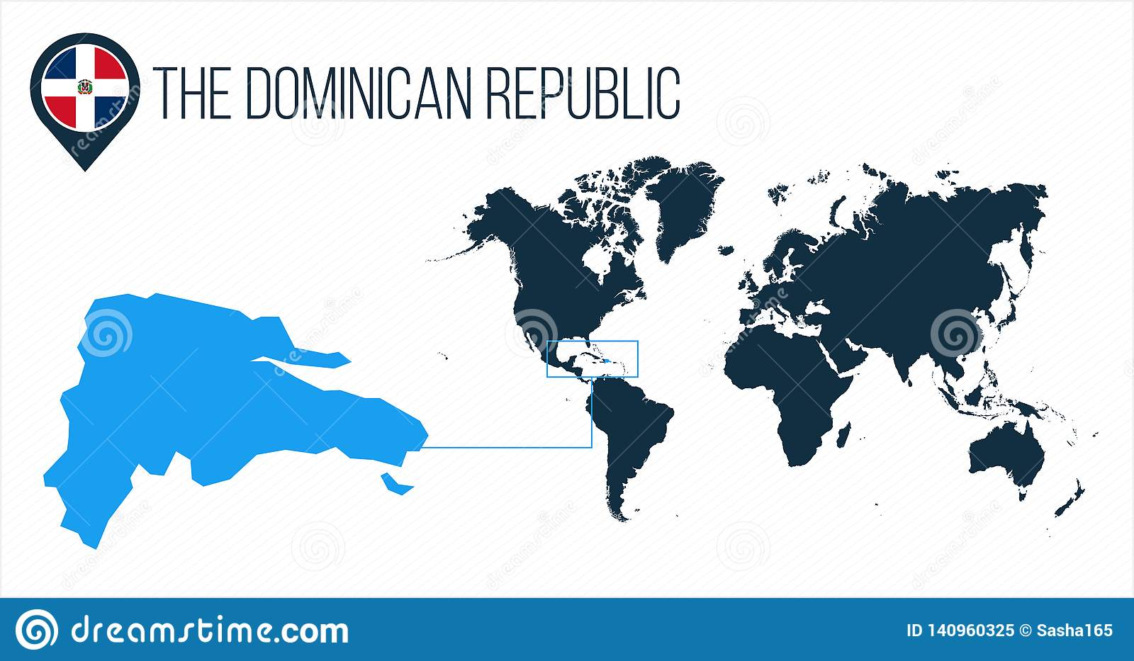 The Dominican Republic Map Located On A World Map With Flag ...