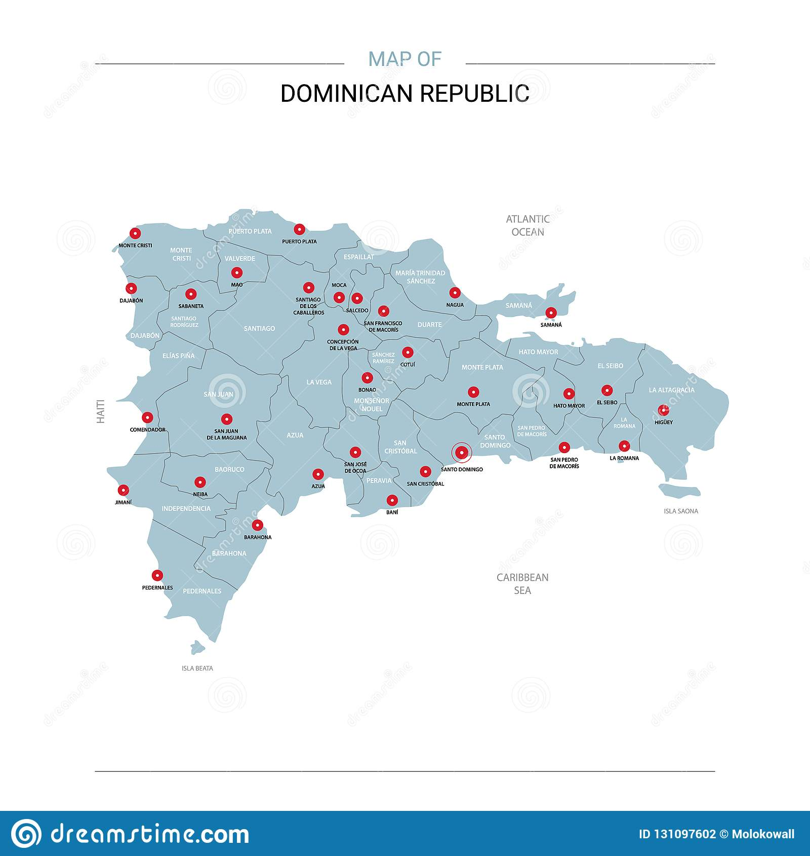 Dominican Republic Map Vector With Red Pin. Stock Vector ... on