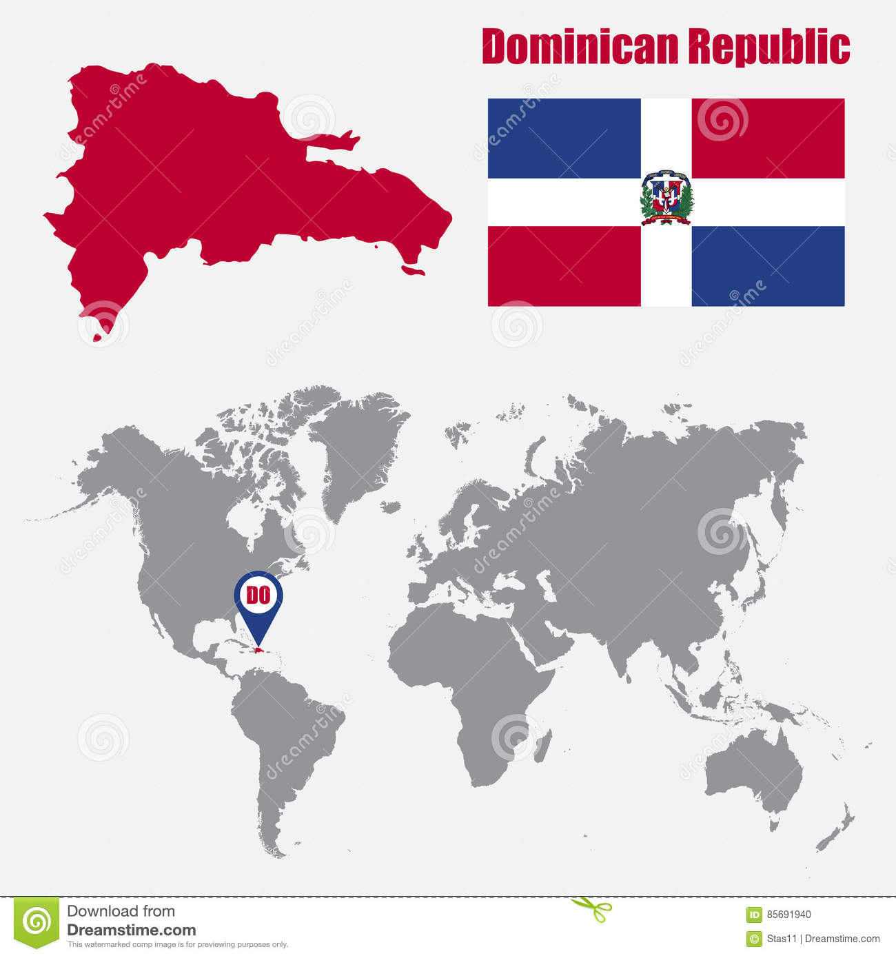 Dominican Republic Map On A World Map With Flag And Map Pointer ...