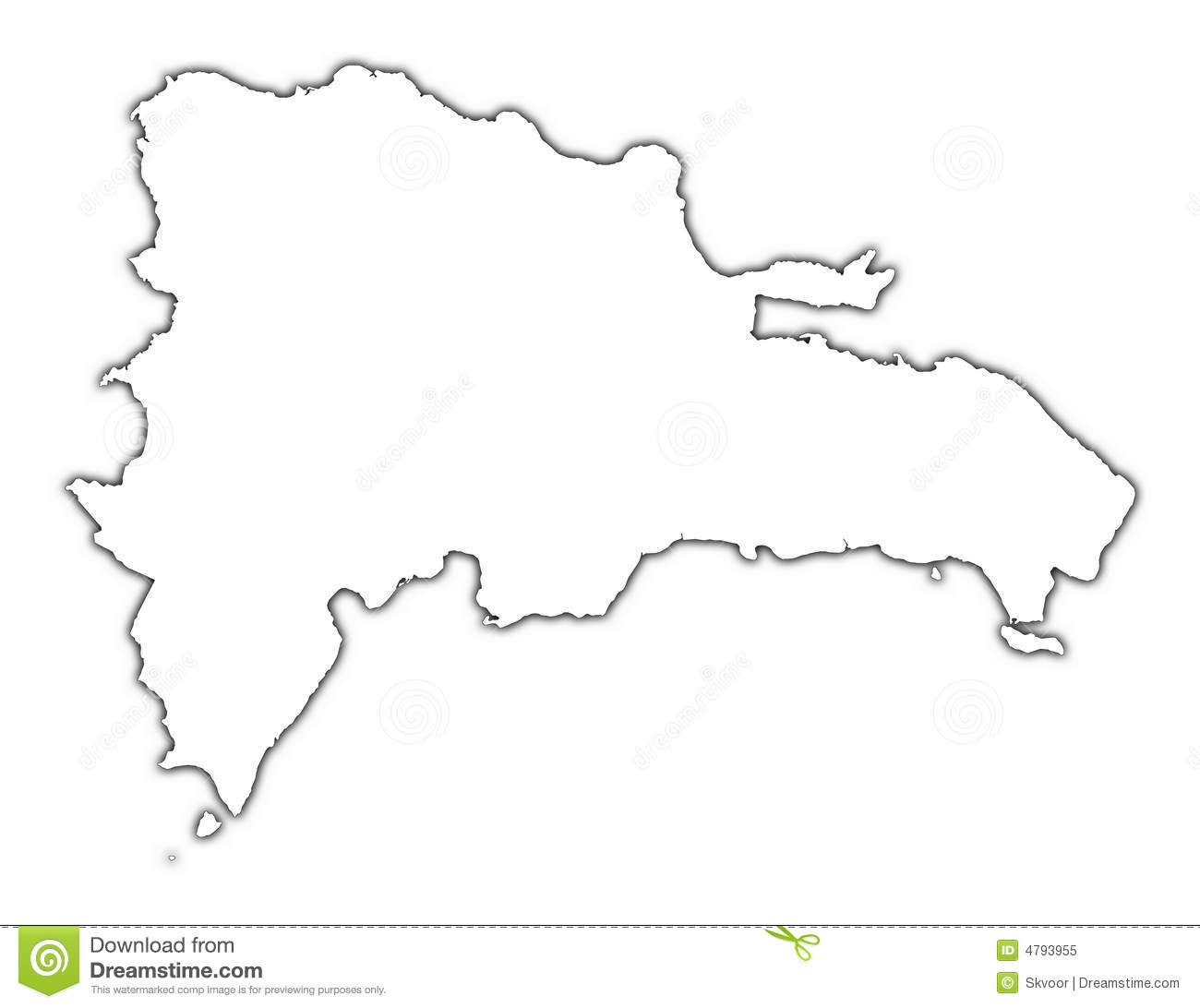 Dominican Republic Outline Map Royalty Free Stock Photo - Image ...