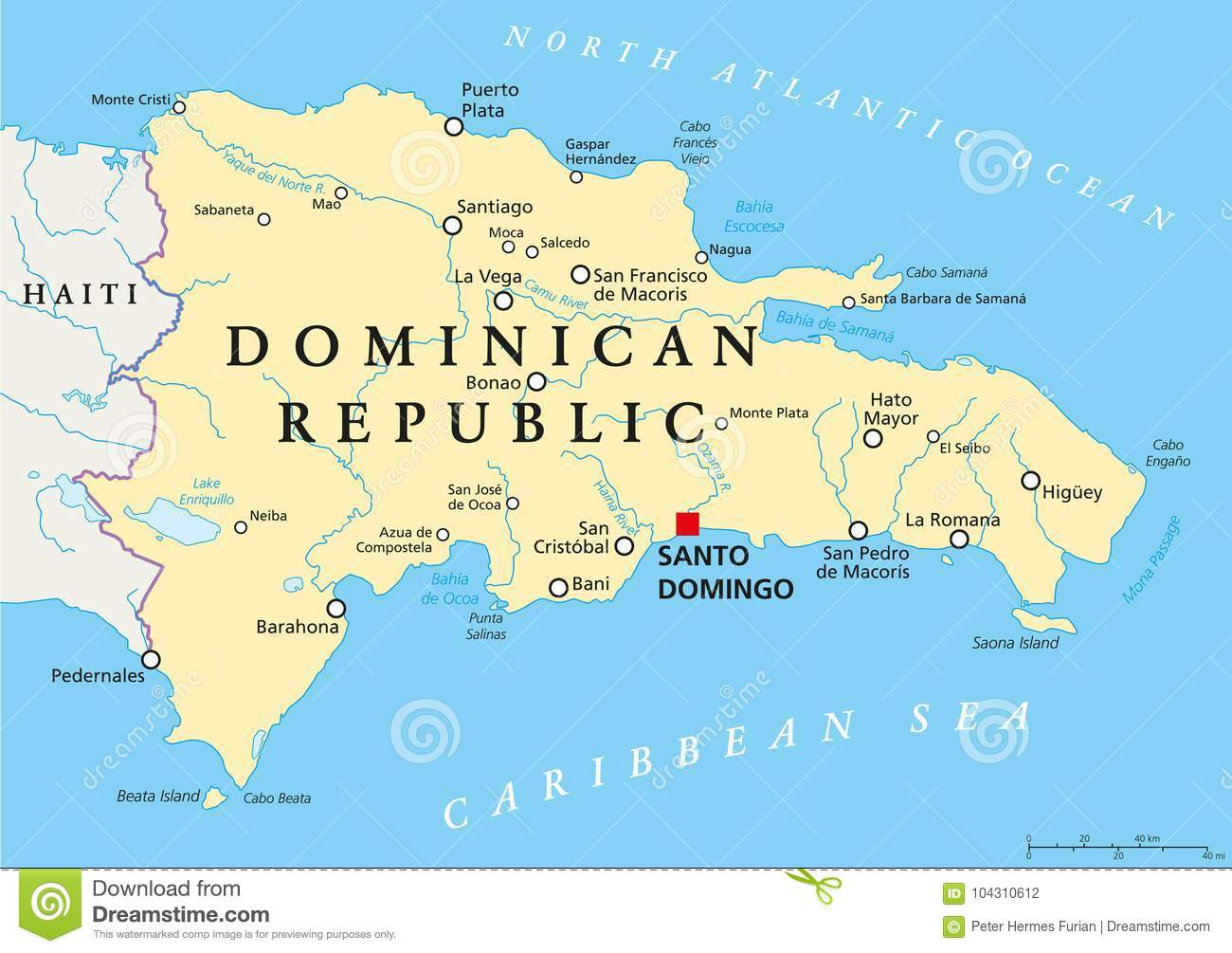 Santo Domingo Map Dominican Republic Political Map Stock Vector   Illustration of