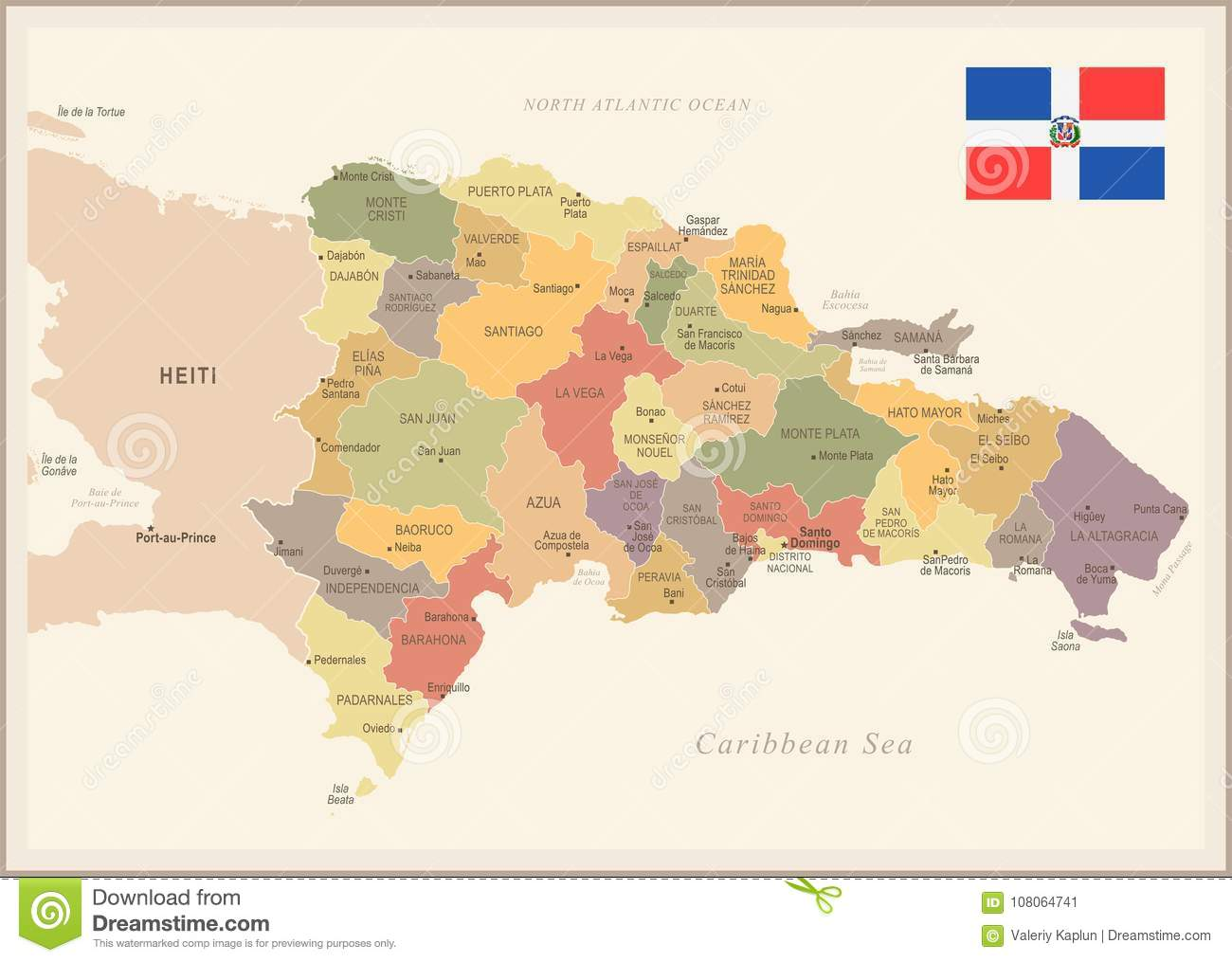 Dominican Republic - Vintage Map And Flag - Detailed Vector ...