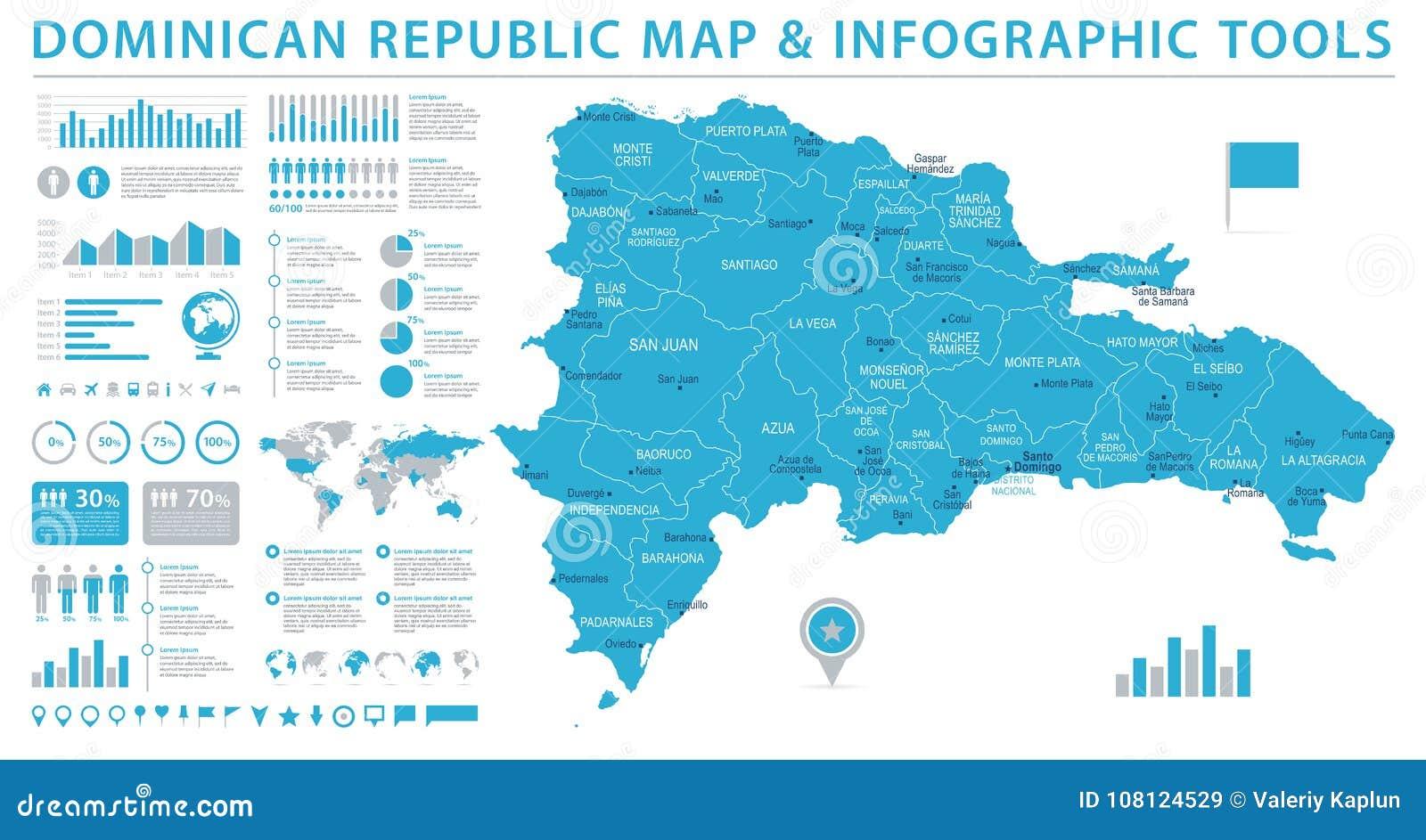 Dominikanische Republik Karte Informations Grafische Vektor