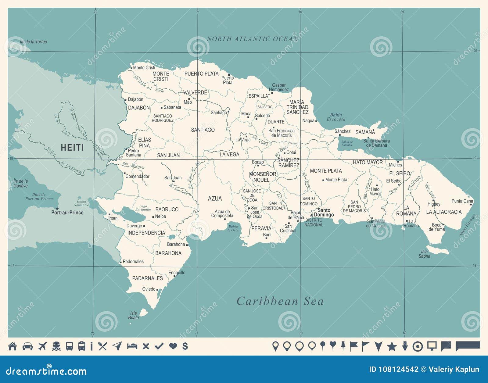 Dominikanische Republik Karte Weinlese Ausführliche Vektor